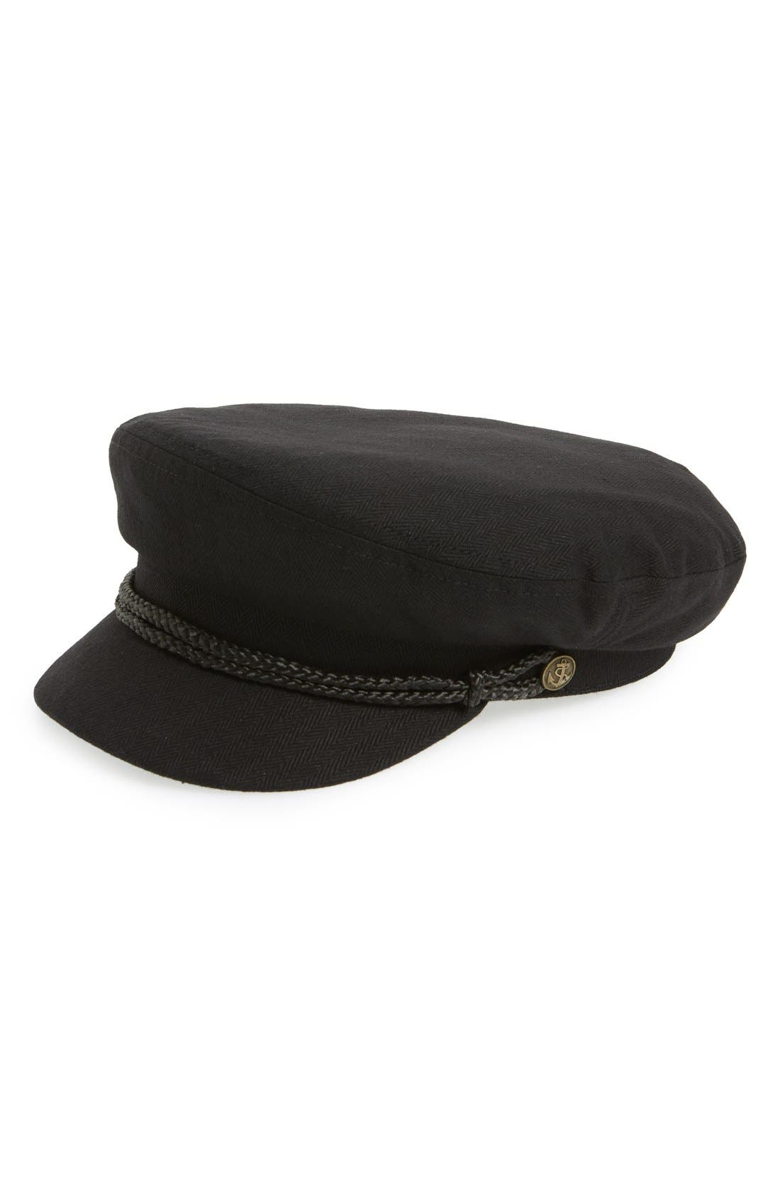Fiddler Cap,                             Main thumbnail 1, color,                             BLACK