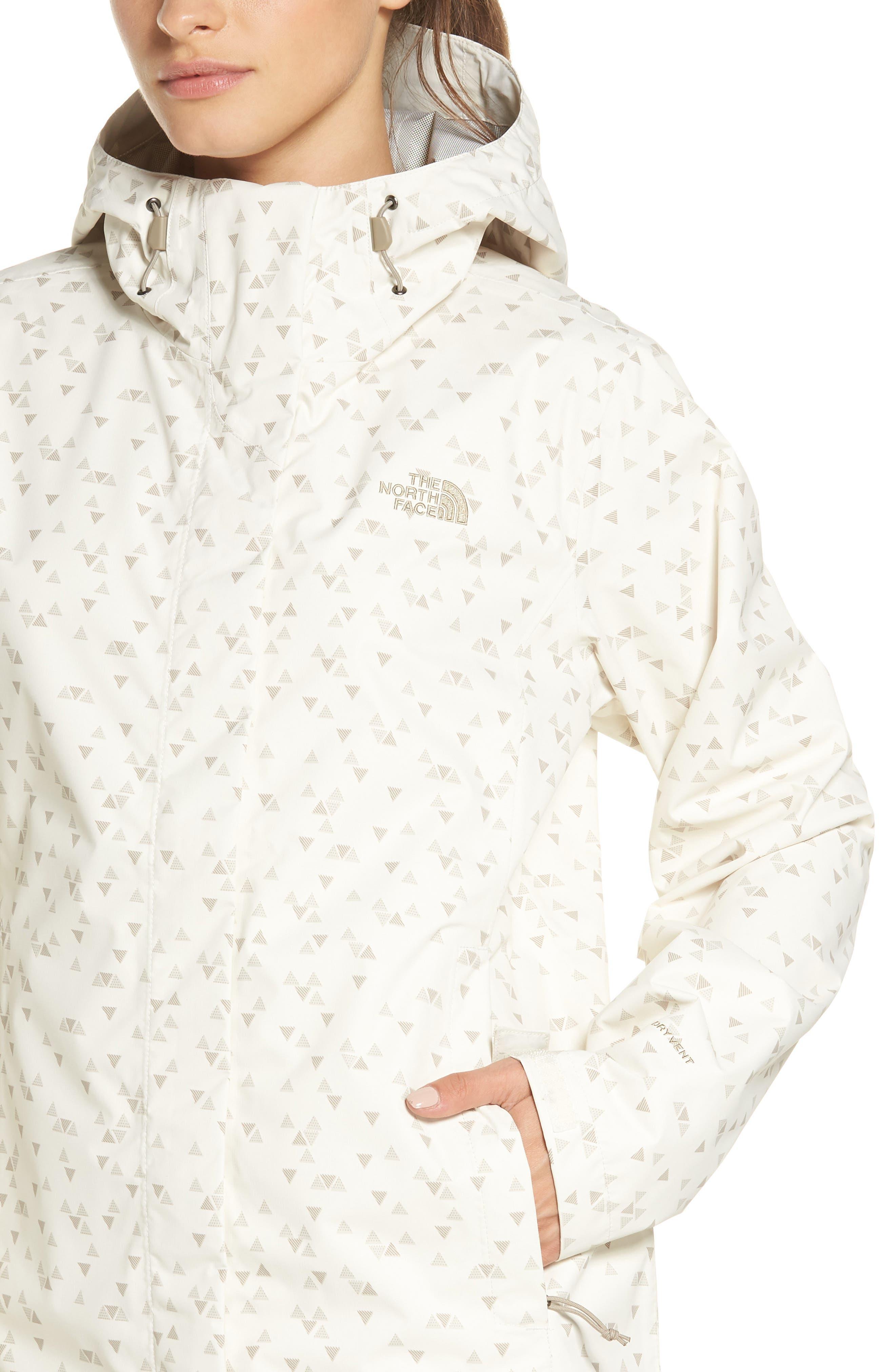 Venture Print Waterproof Jacket,                             Alternate thumbnail 4, color,                             VINTAGE WHITE SPARSE