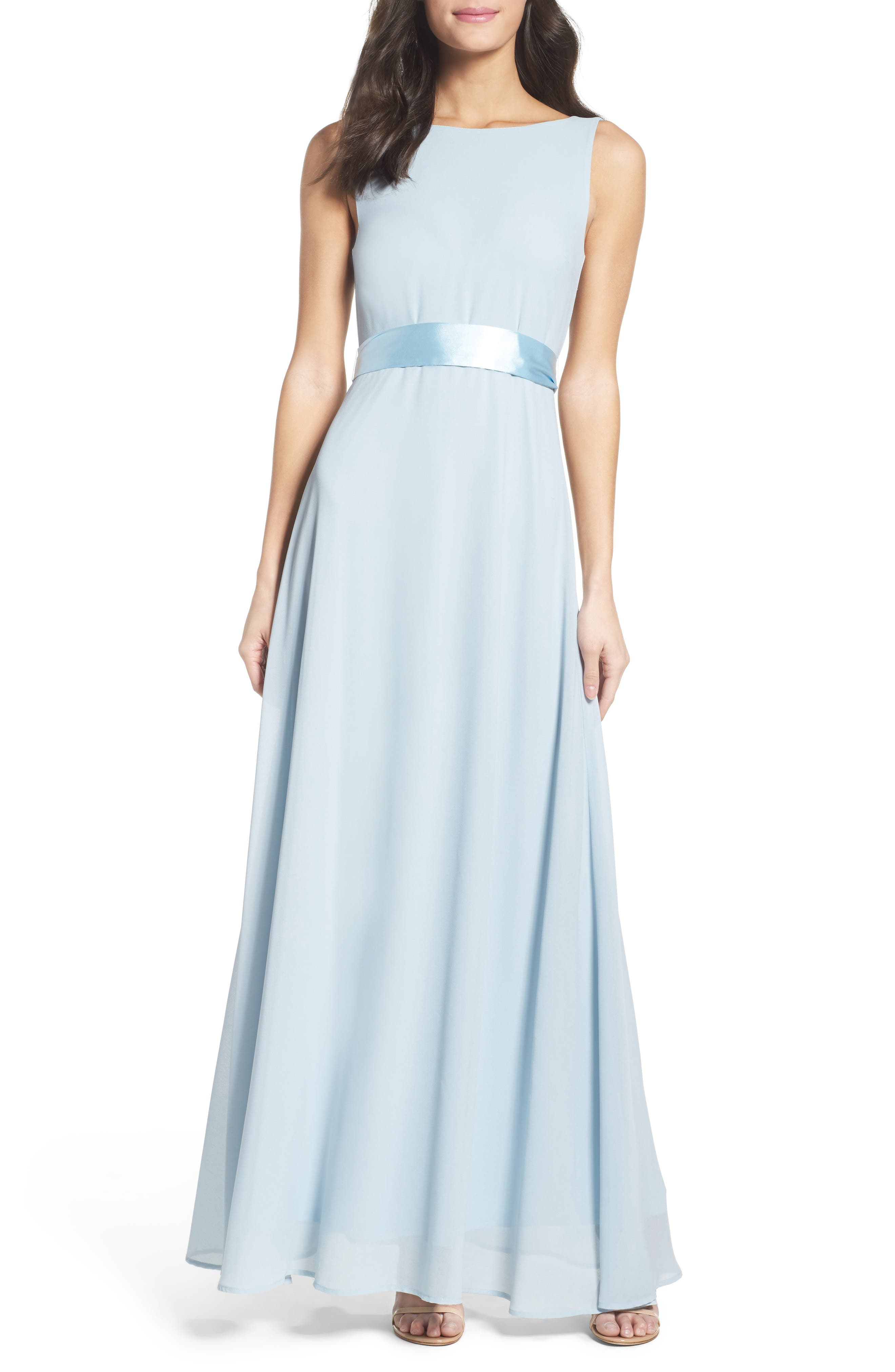 Belted V-Back Chiffon Gown,                         Main,                         color, 400