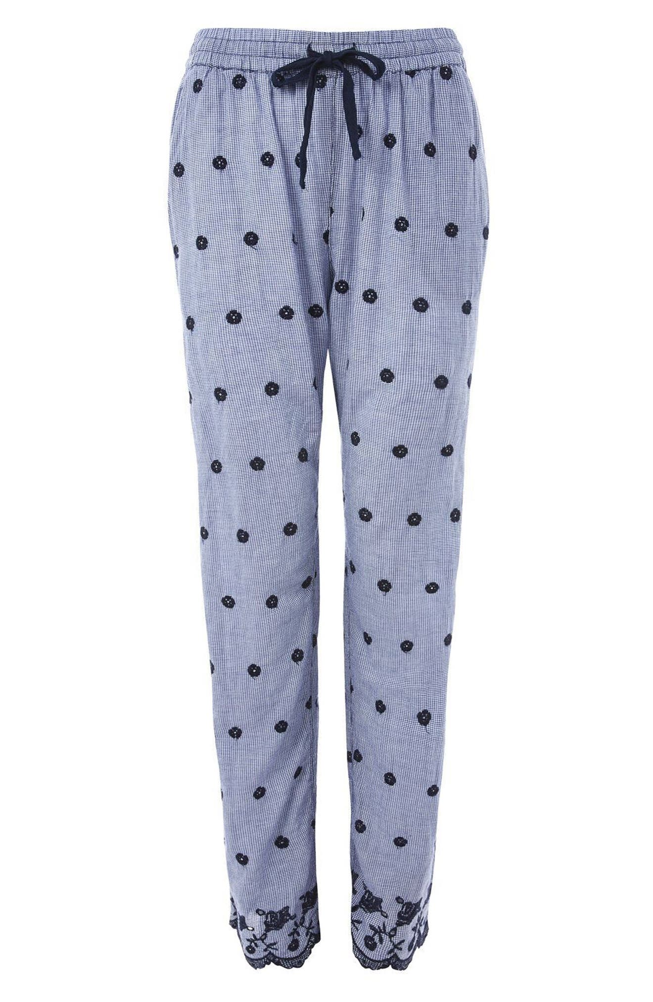 Embroidered Gingham Pajama Pants,                             Alternate thumbnail 3, color,