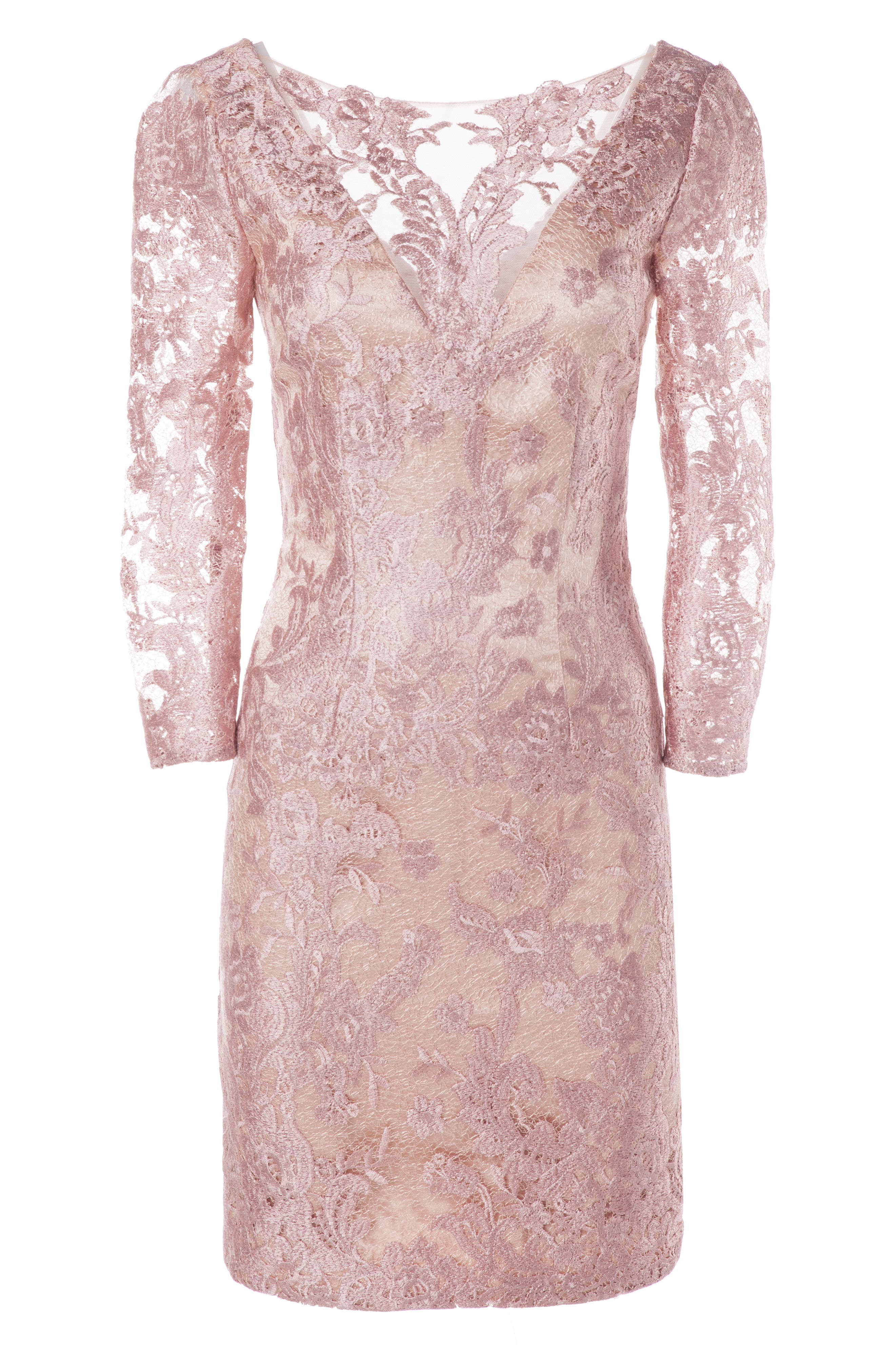 Embroidered Lace Cocktail Dress,                             Alternate thumbnail 3, color,                             LILAC/ PINK