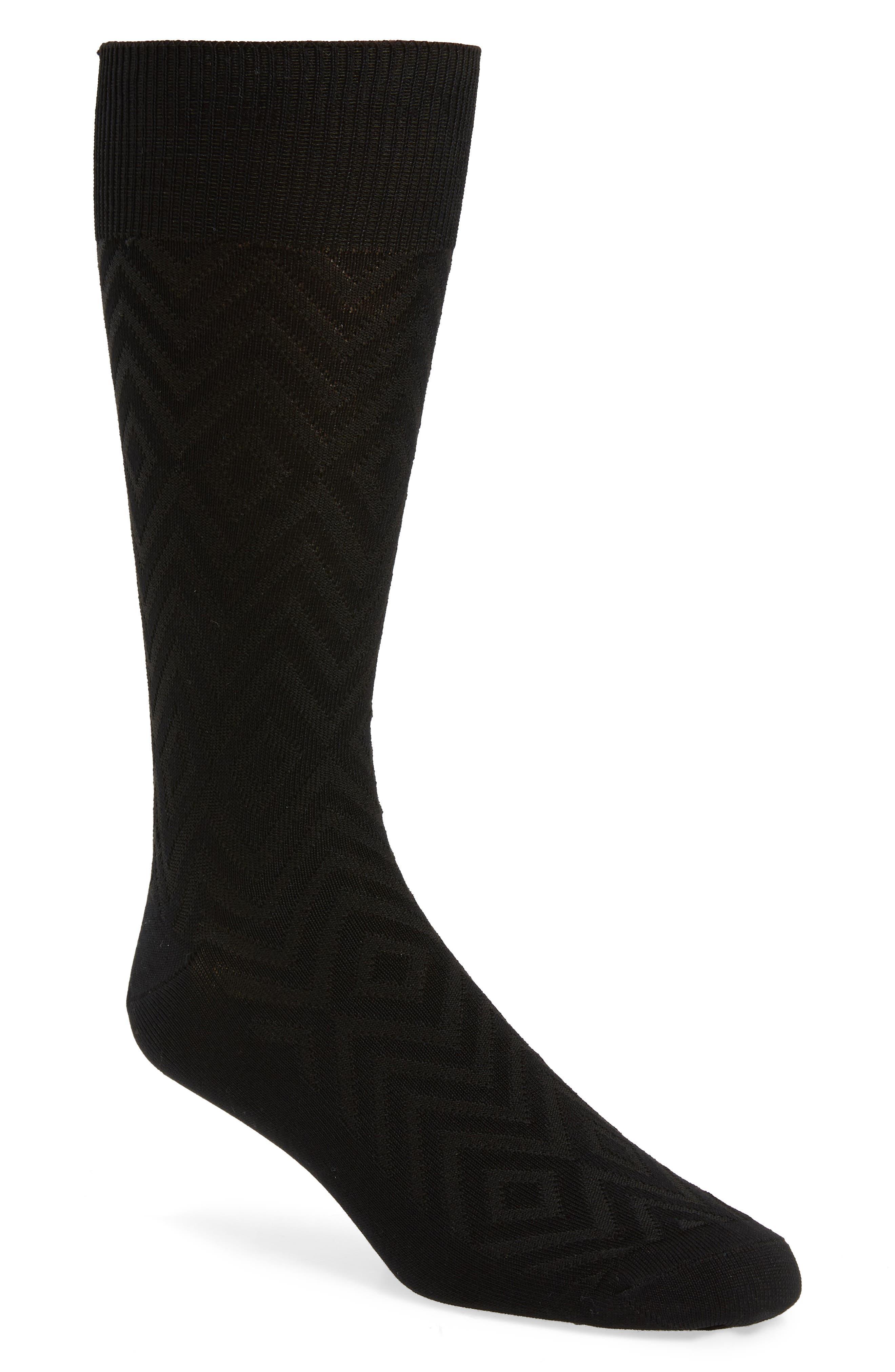 Chevron Socks,                             Main thumbnail 1, color,                             BLACK