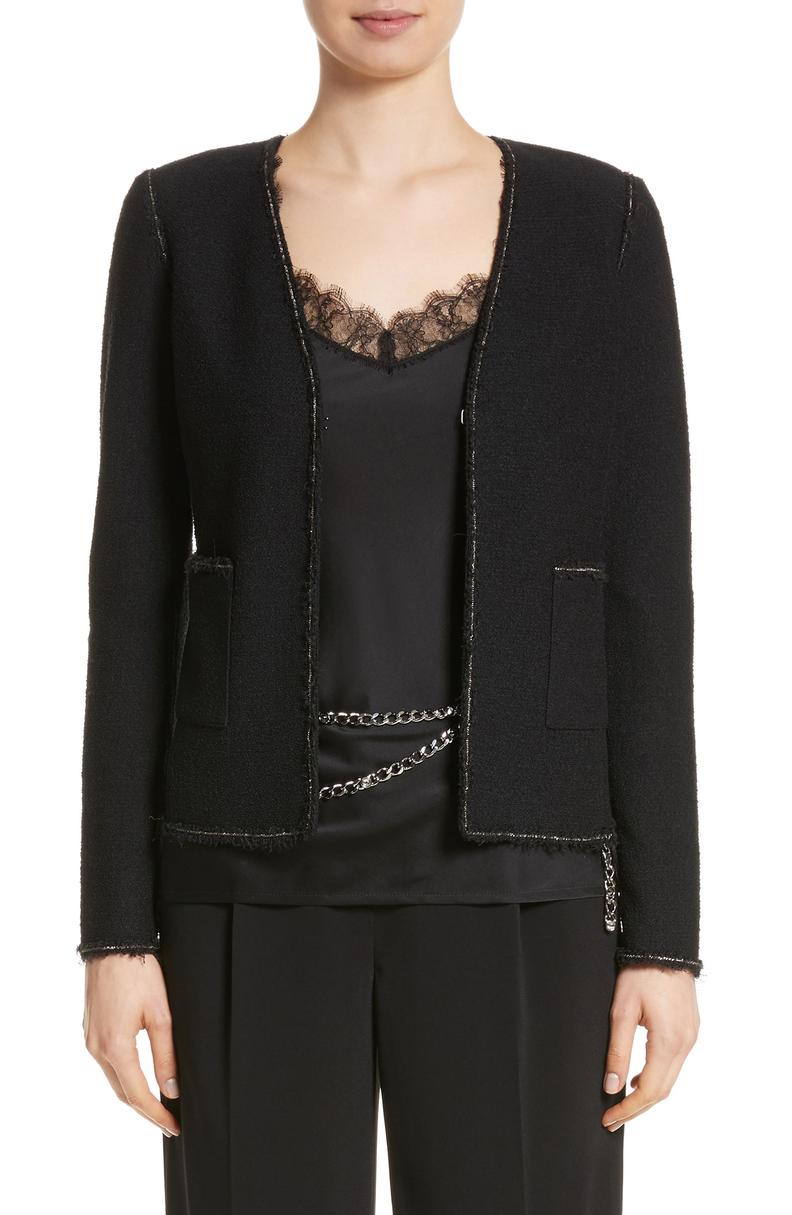 Bouclé Knit Jacket,                             Main thumbnail 1, color,                             CAVIAR