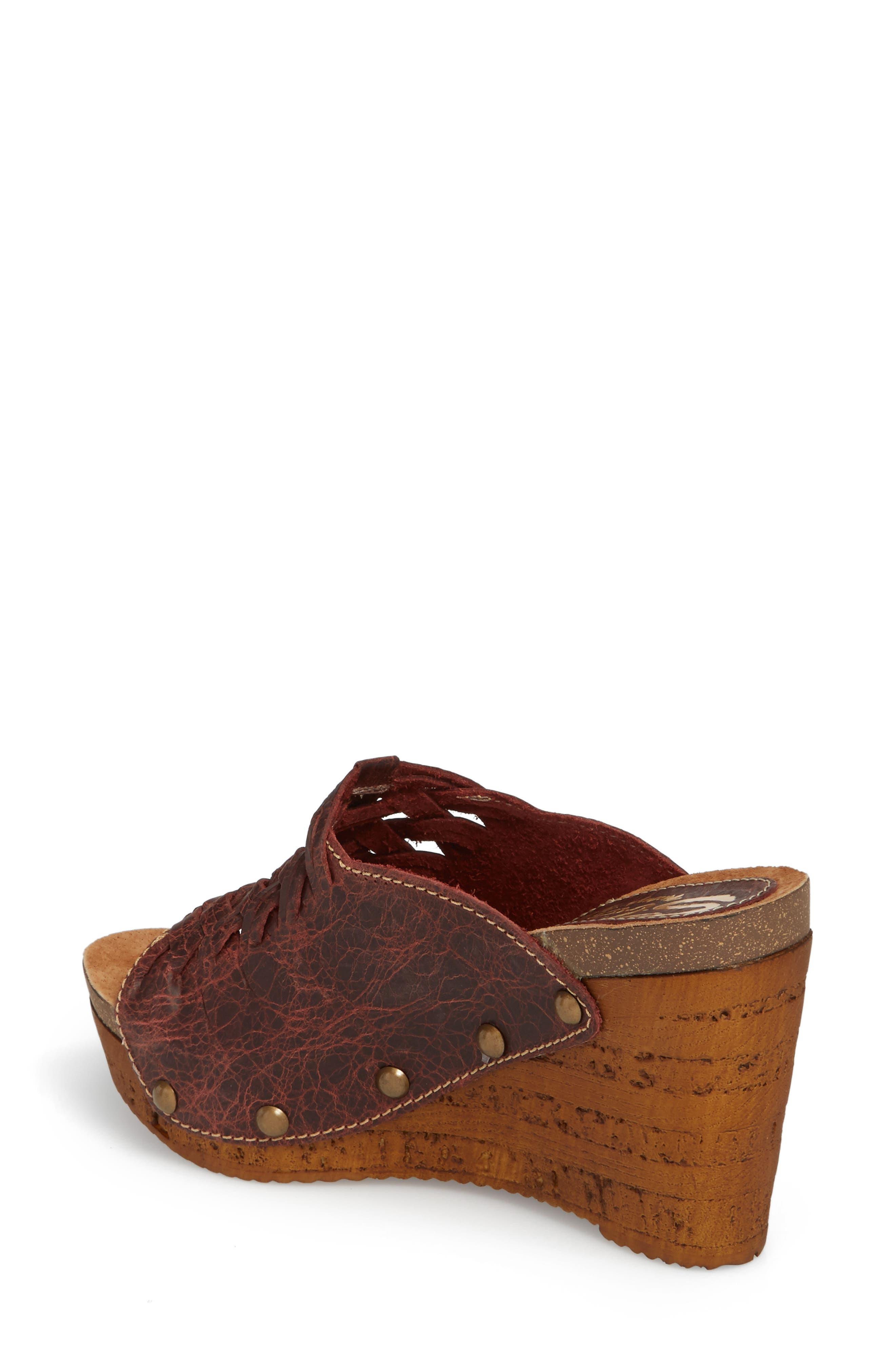 Genesis Platform Wedge Sandal,                             Alternate thumbnail 2, color,                             WINE