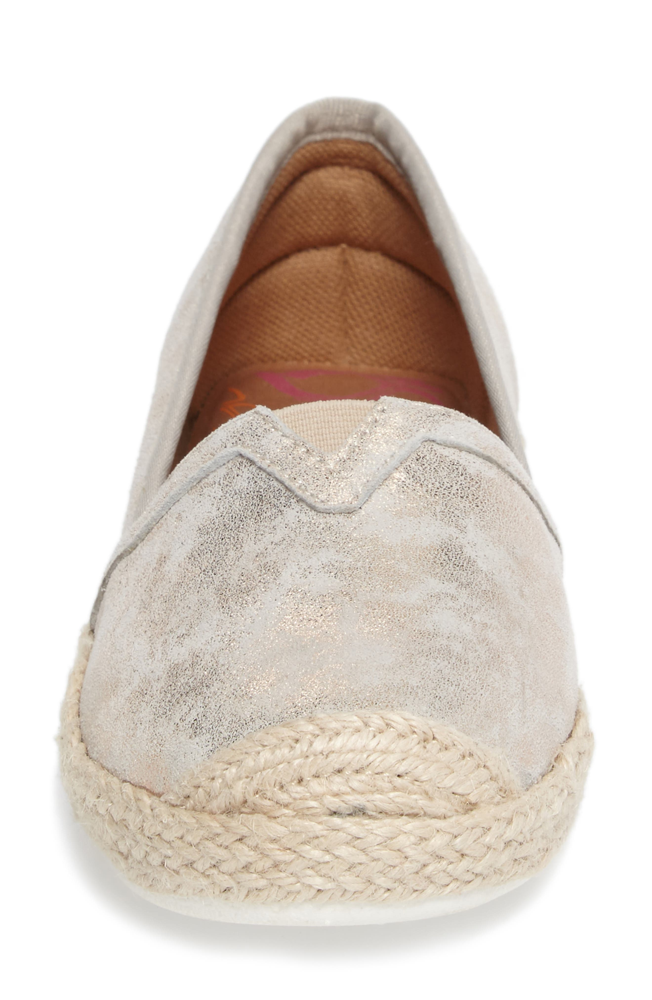 Sheridan Espadrille Flat,                             Alternate thumbnail 4, color,                             IVORY SUEDE