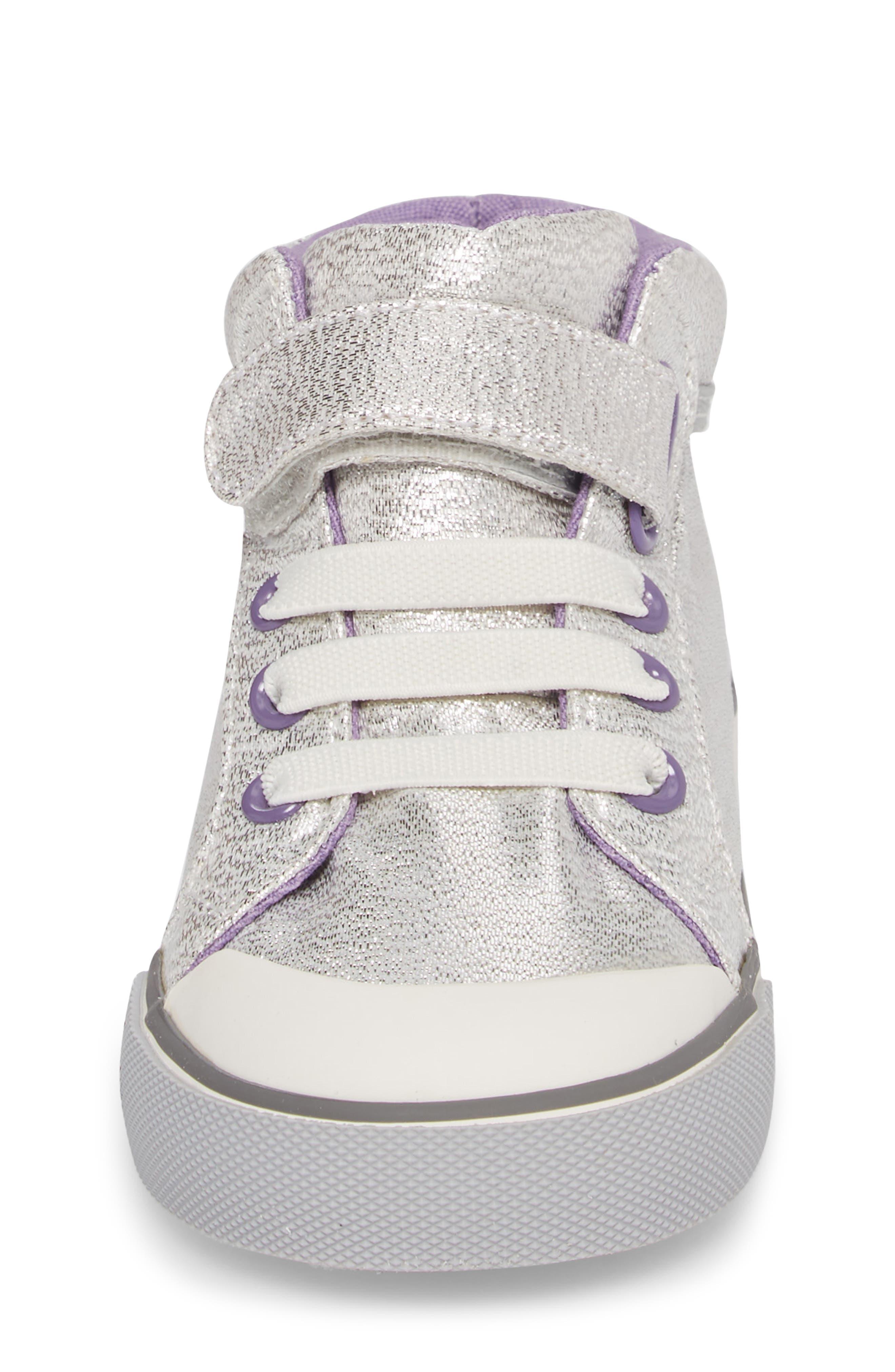 Peyton Metallic Mid Top Sneaker,                             Alternate thumbnail 4, color,                             SILVER GLITTER