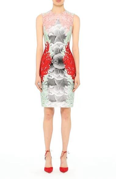 Coral Print Scuba Sheath Dress, video thumbnail