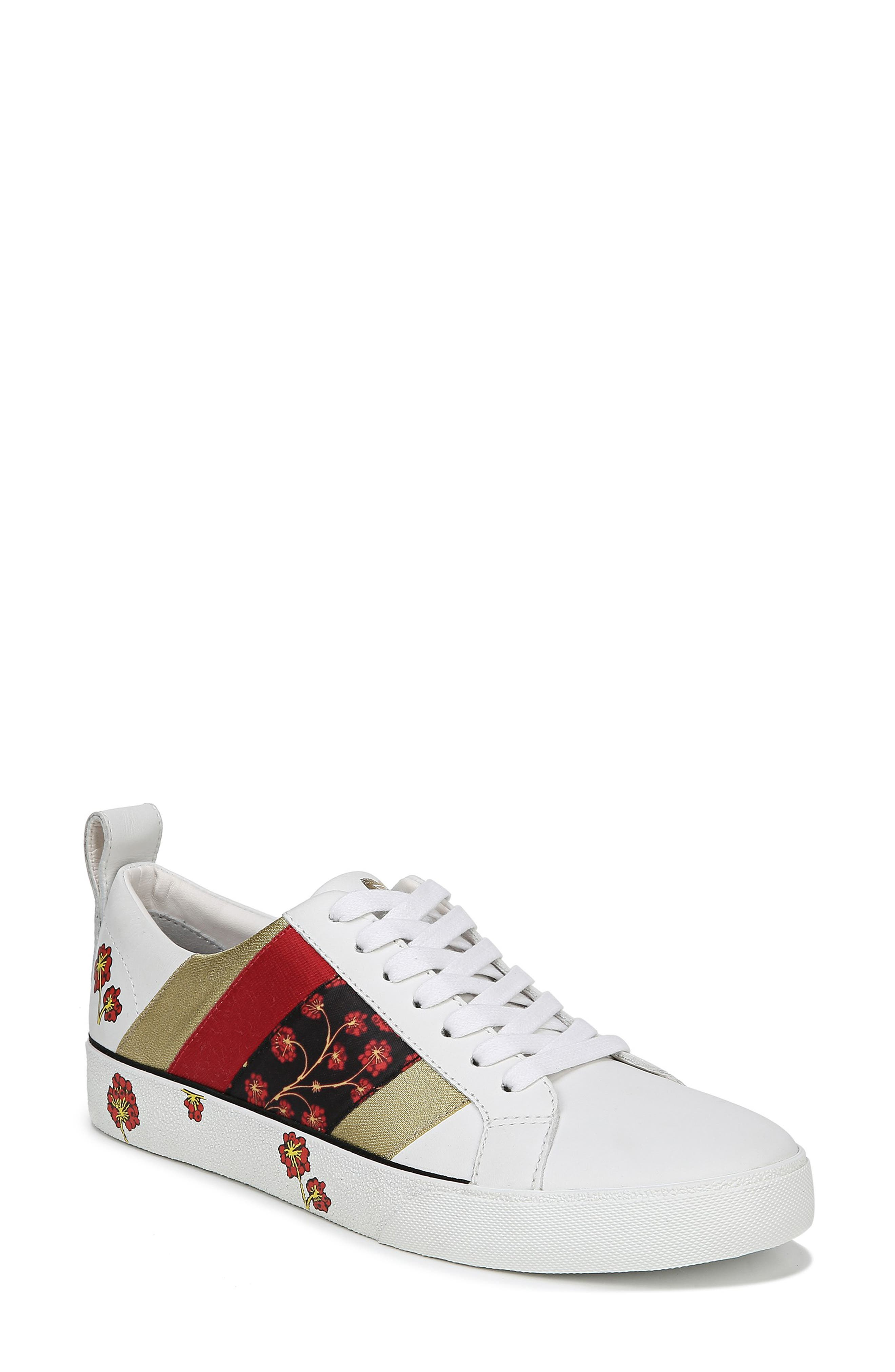 Tess Lace-Up Sneaker,                         Main,                         color, WHITE/ RED