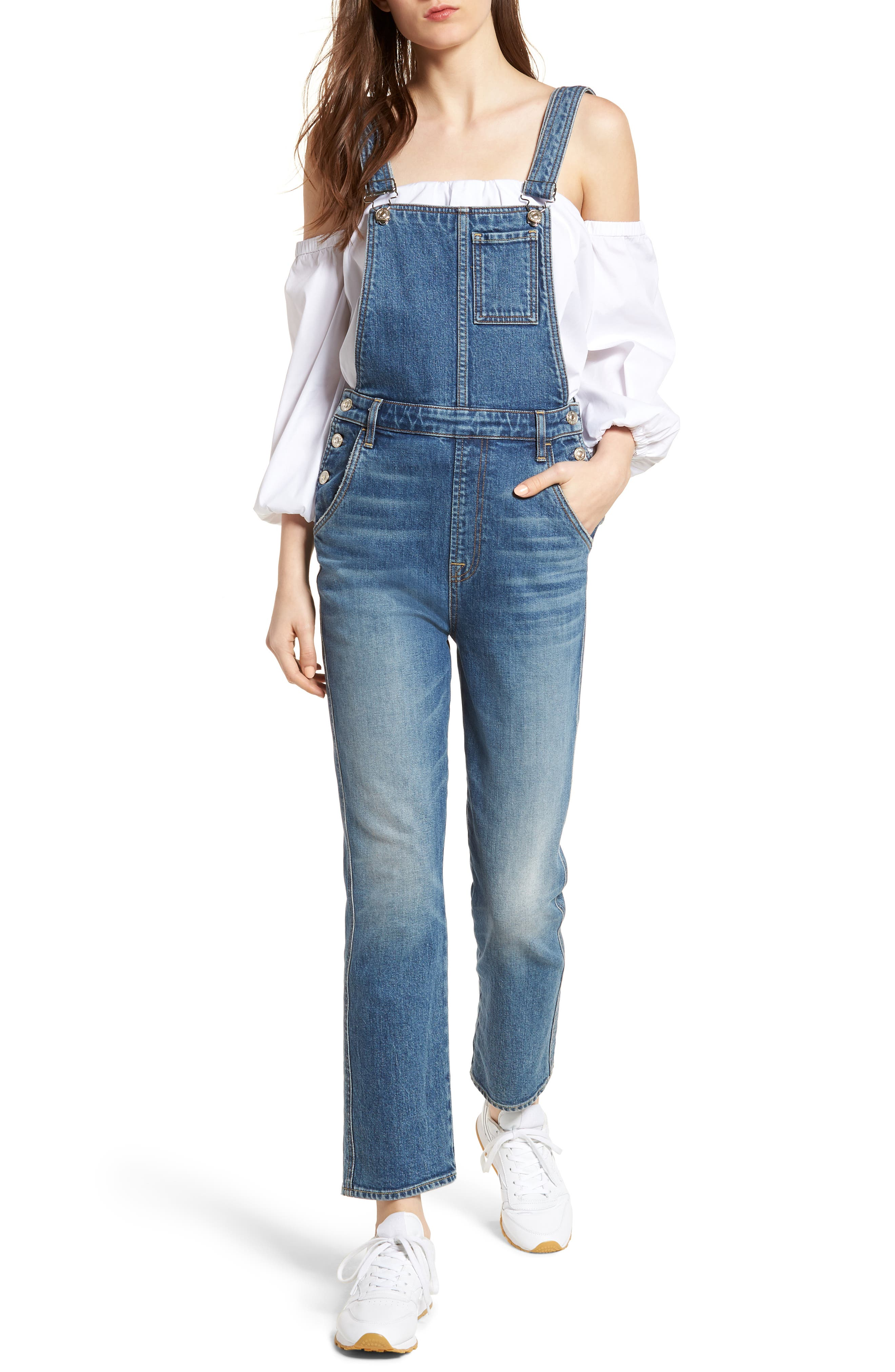 Edie Denim Overalls,                             Main thumbnail 1, color,                             401