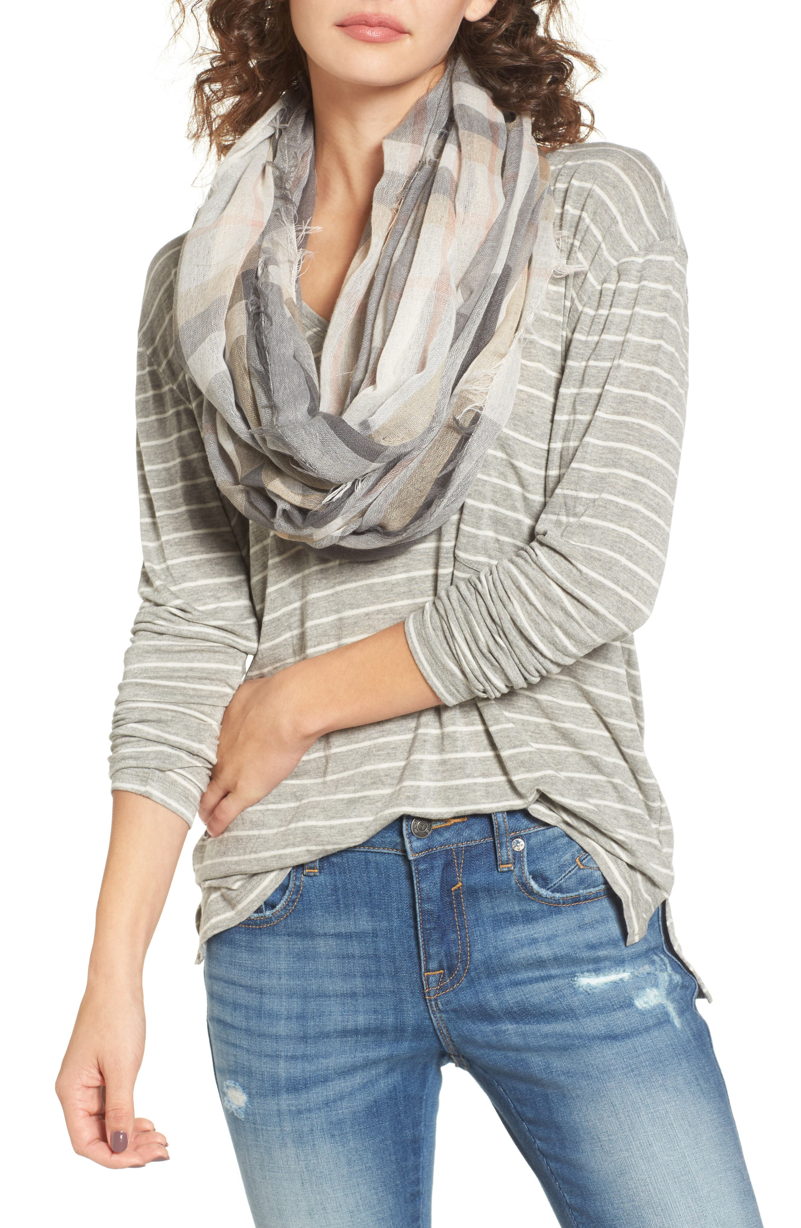 Plaid Infinity Scarf,                             Main thumbnail 1, color,                             020