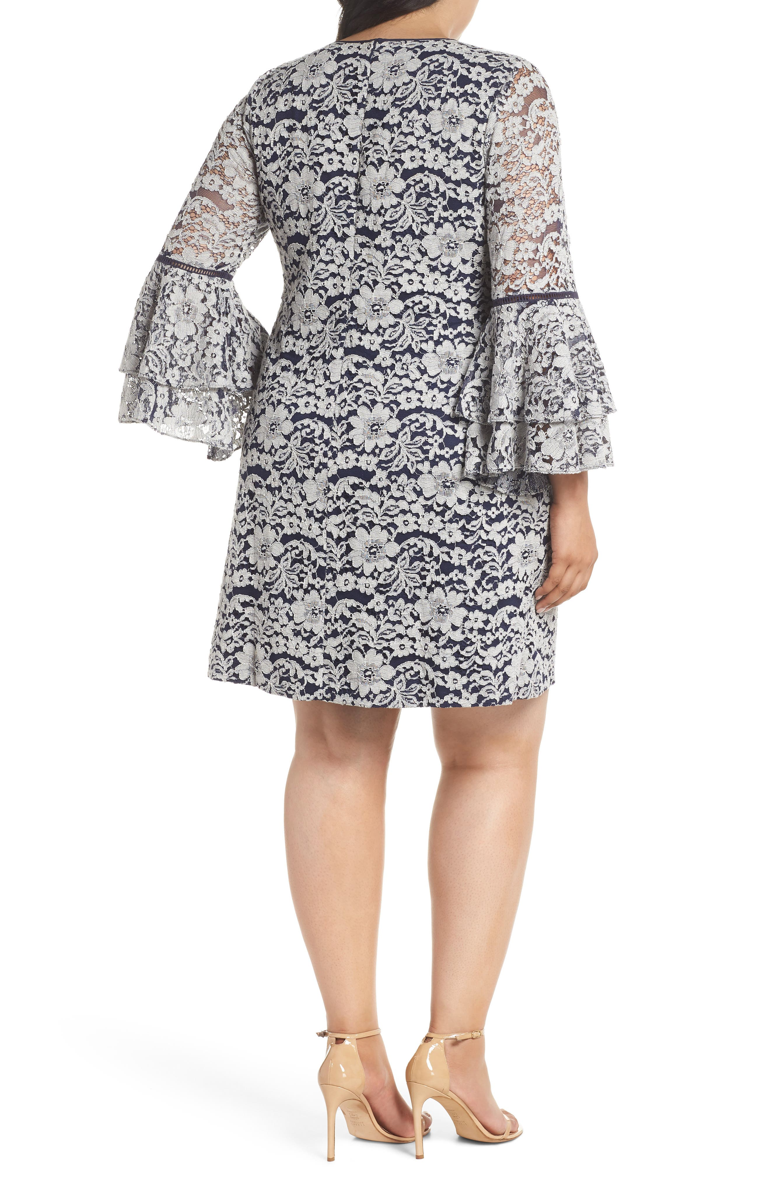Lace Tier Bell Sleeve Shift Dress,                             Alternate thumbnail 2, color,                             401