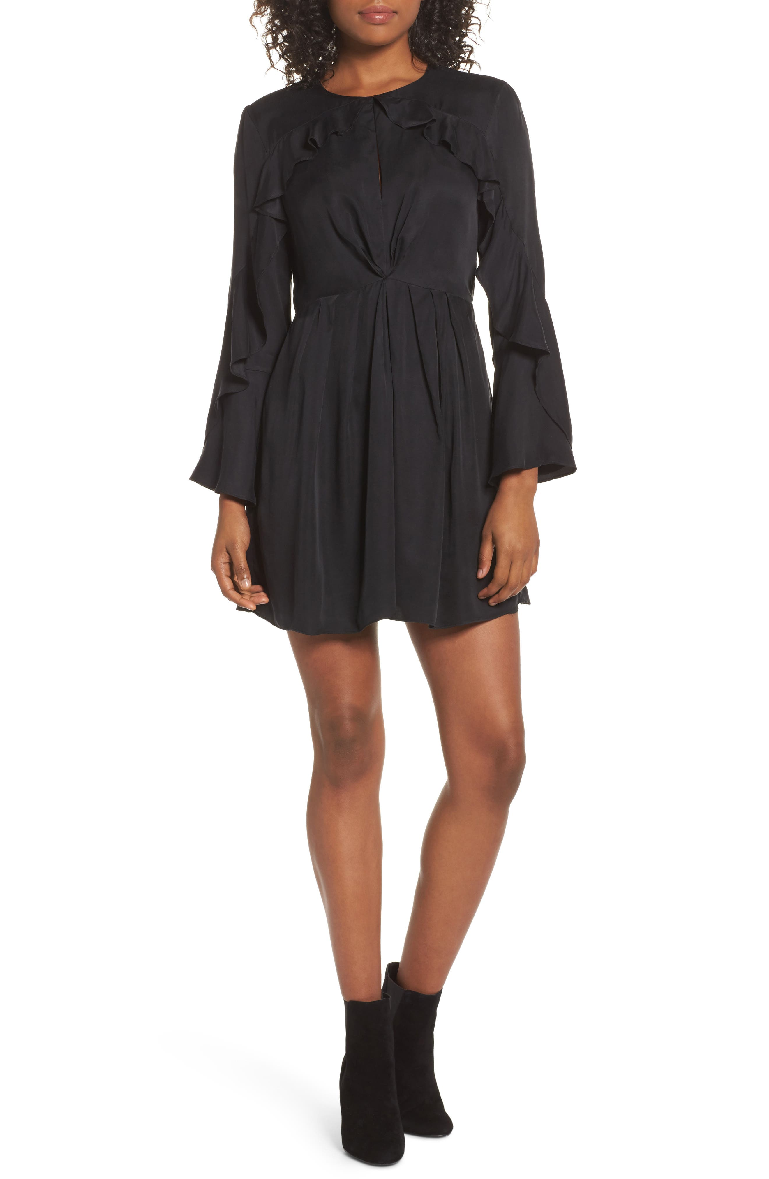 Mira Ruffle Minidress,                         Main,                         color, 001