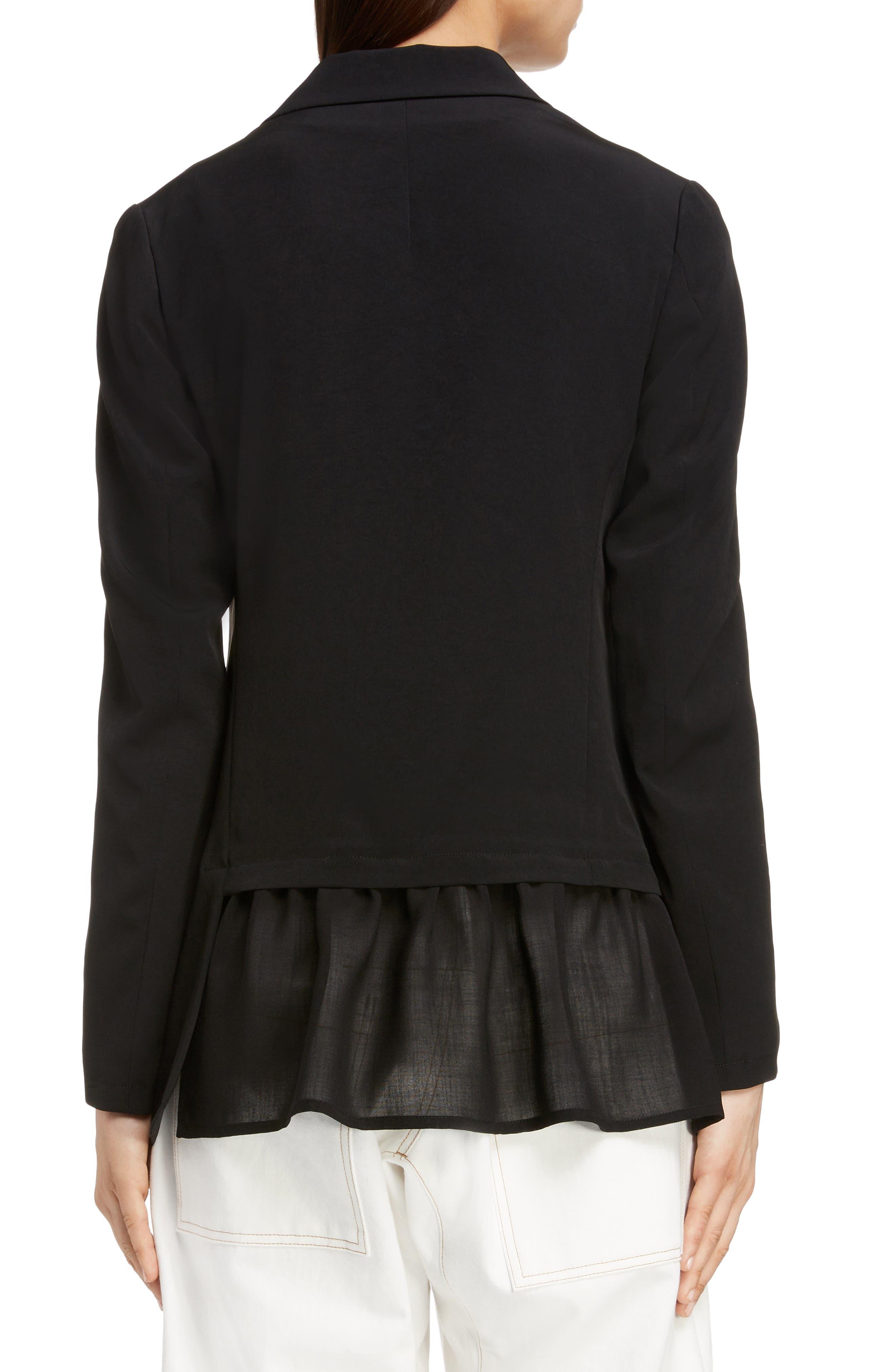 Asymmetrical Peplum Jacket,                             Alternate thumbnail 2, color,                             BLACK