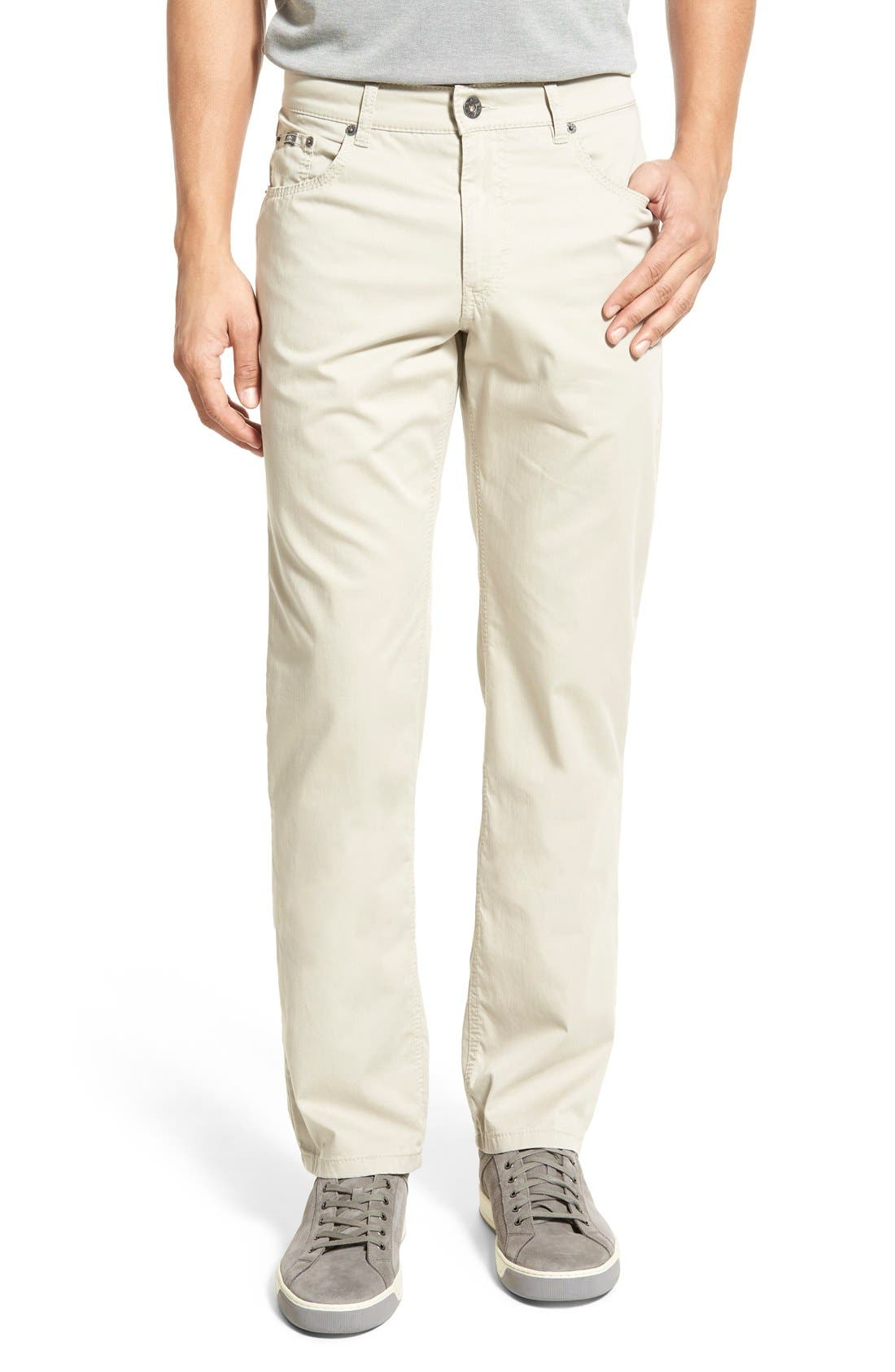 Flat Front Stretch Cotton Straight Leg Trousers,                             Main thumbnail 1, color,                             PAPER