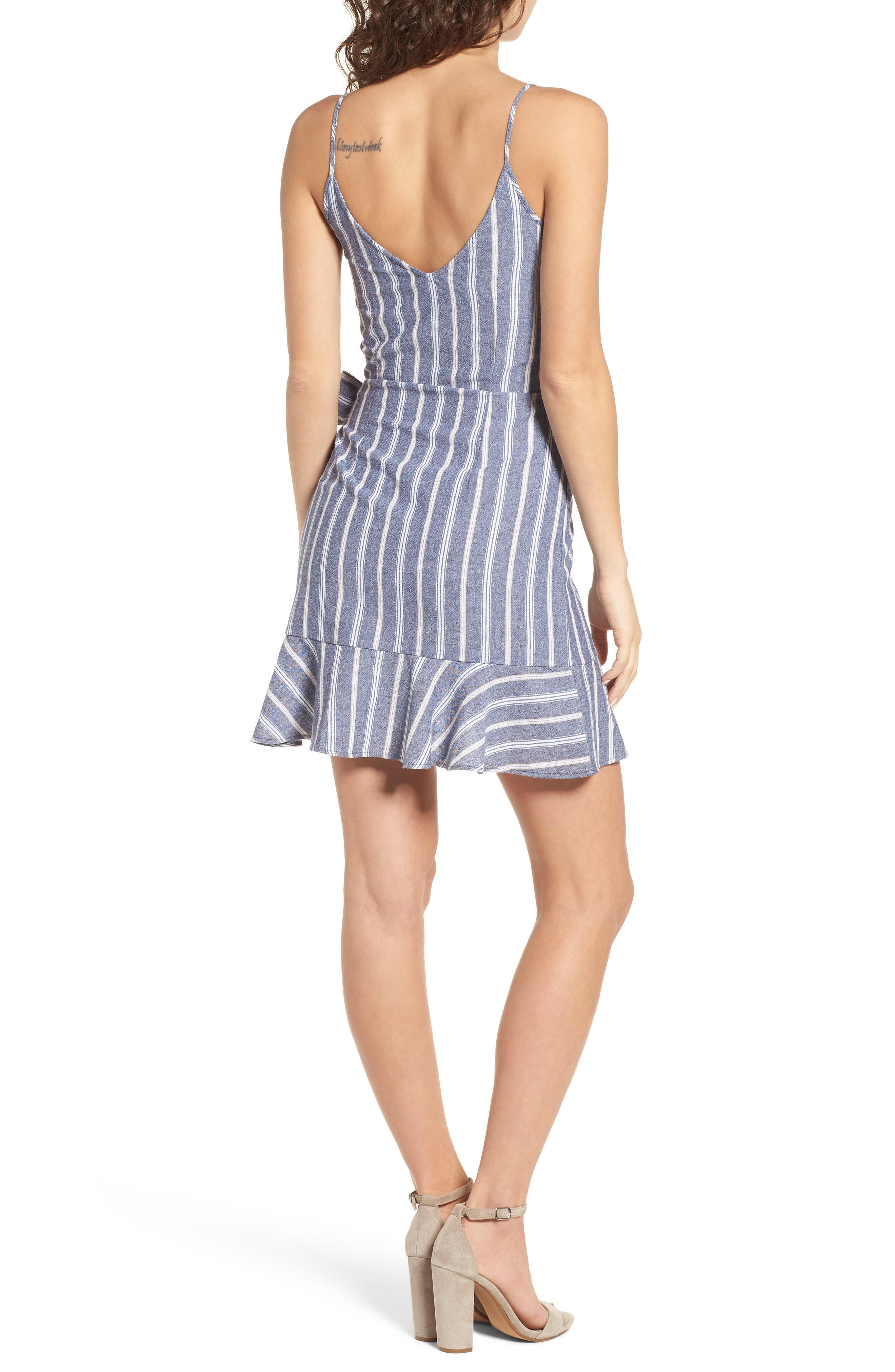 Voyage Stripe Wrap Dress,                             Alternate thumbnail 2, color,                             400