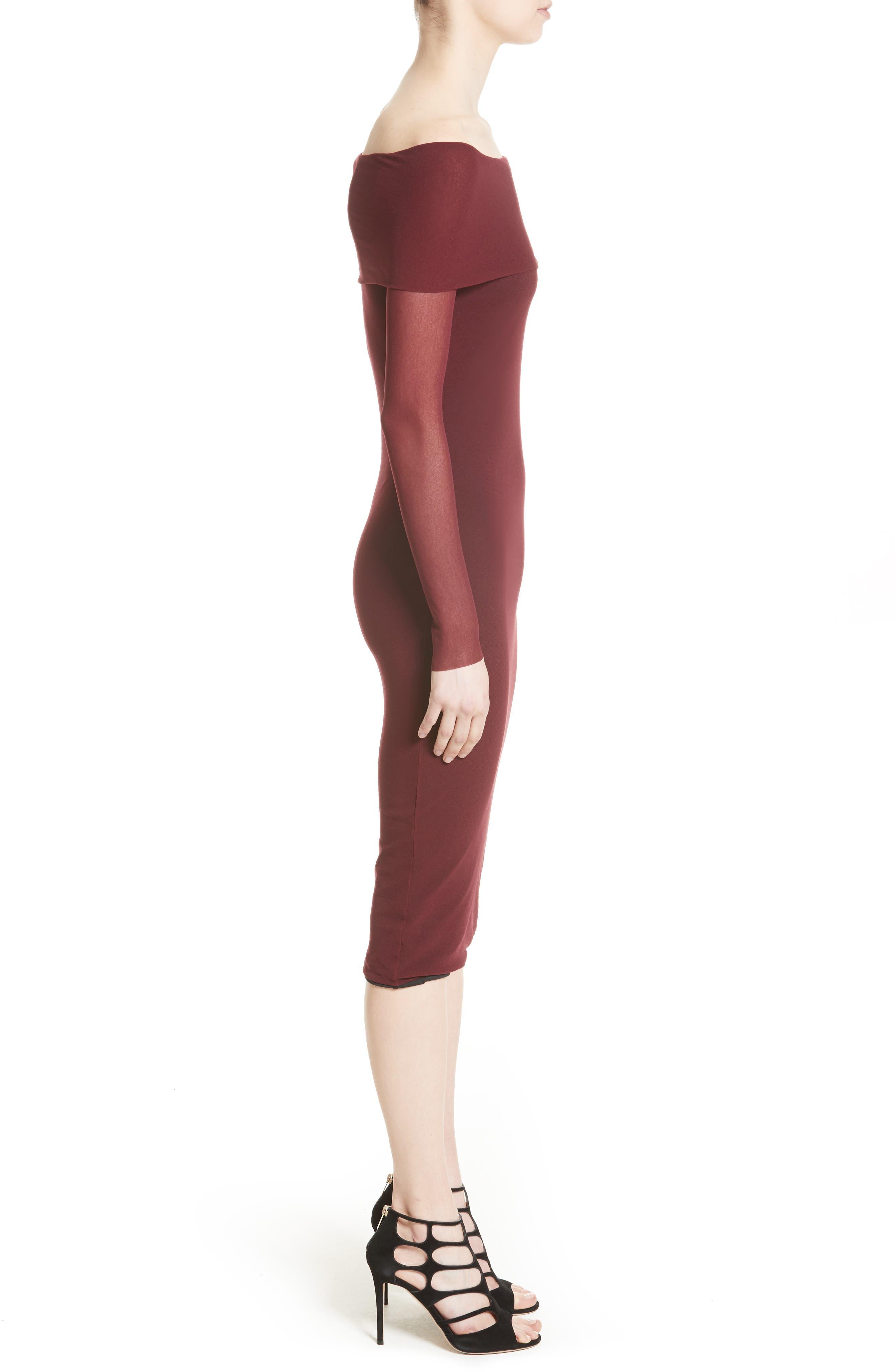 Tulle Off the Shoulder Midi Dress,                             Alternate thumbnail 3, color,