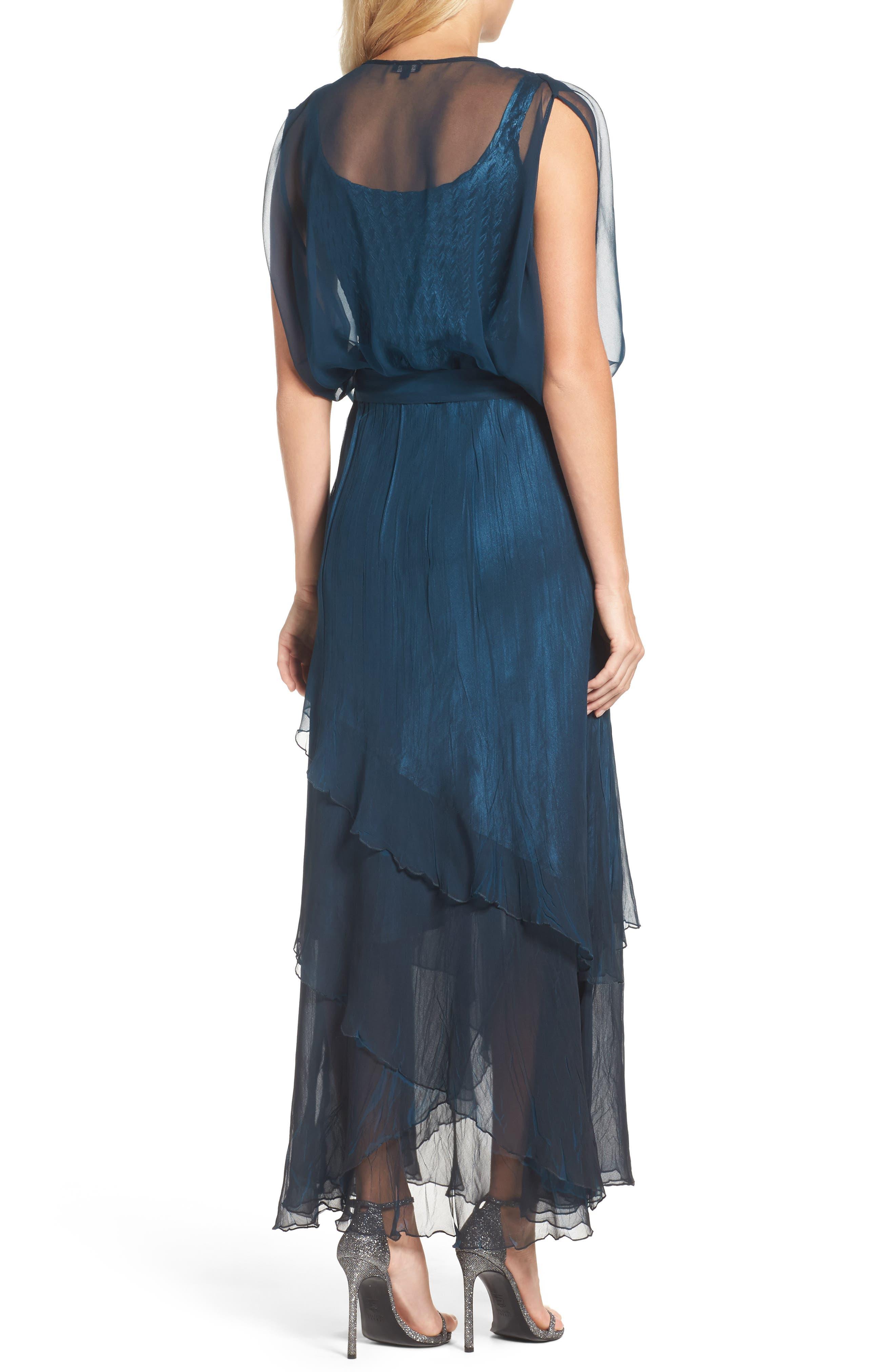 Chiffon Overlay Long Blouson Dress,                             Alternate thumbnail 2, color,                             400
