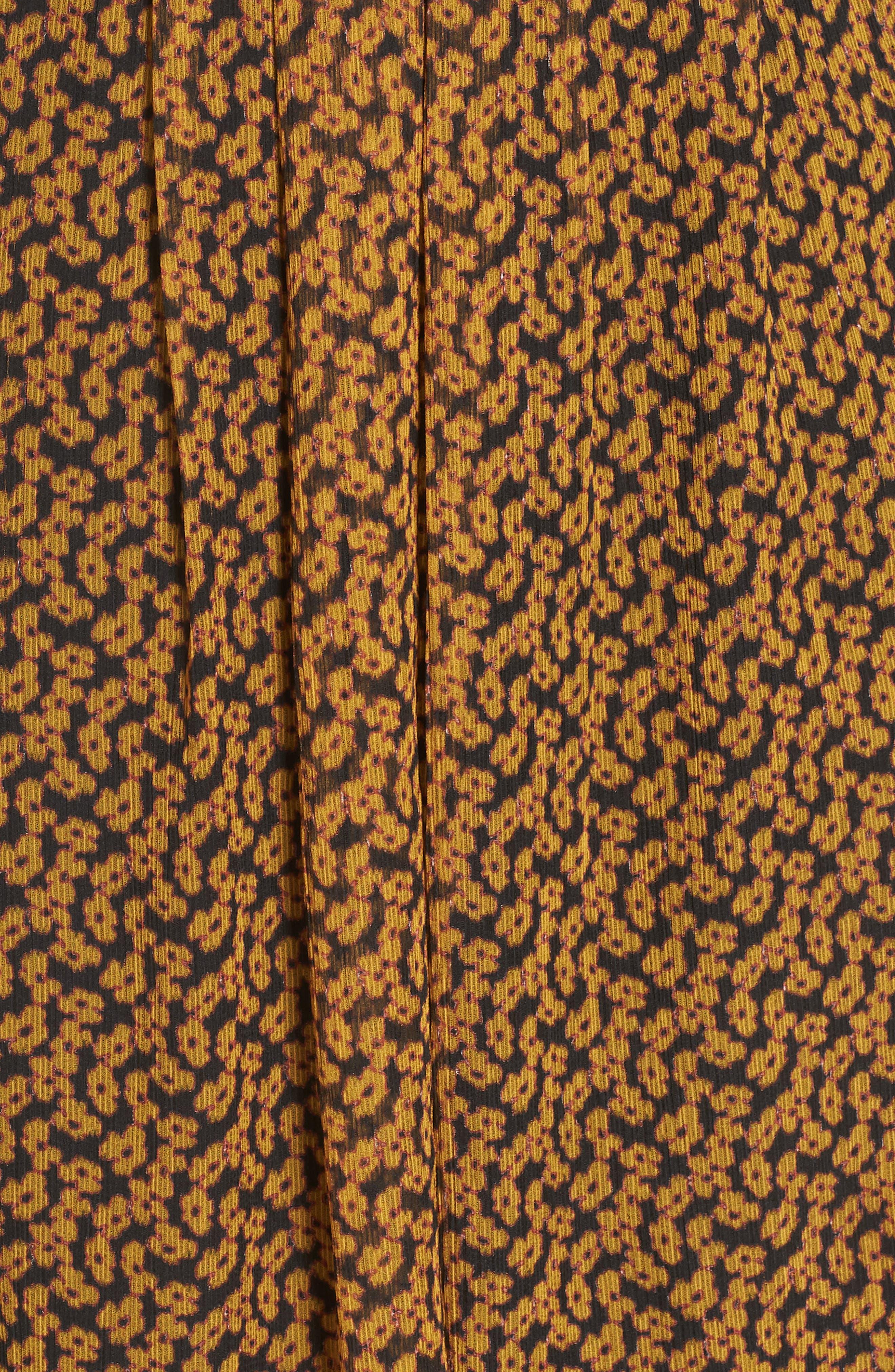 Floral Print Side Slit Midi Dress,                             Alternate thumbnail 6, color,                             MARIGOLD