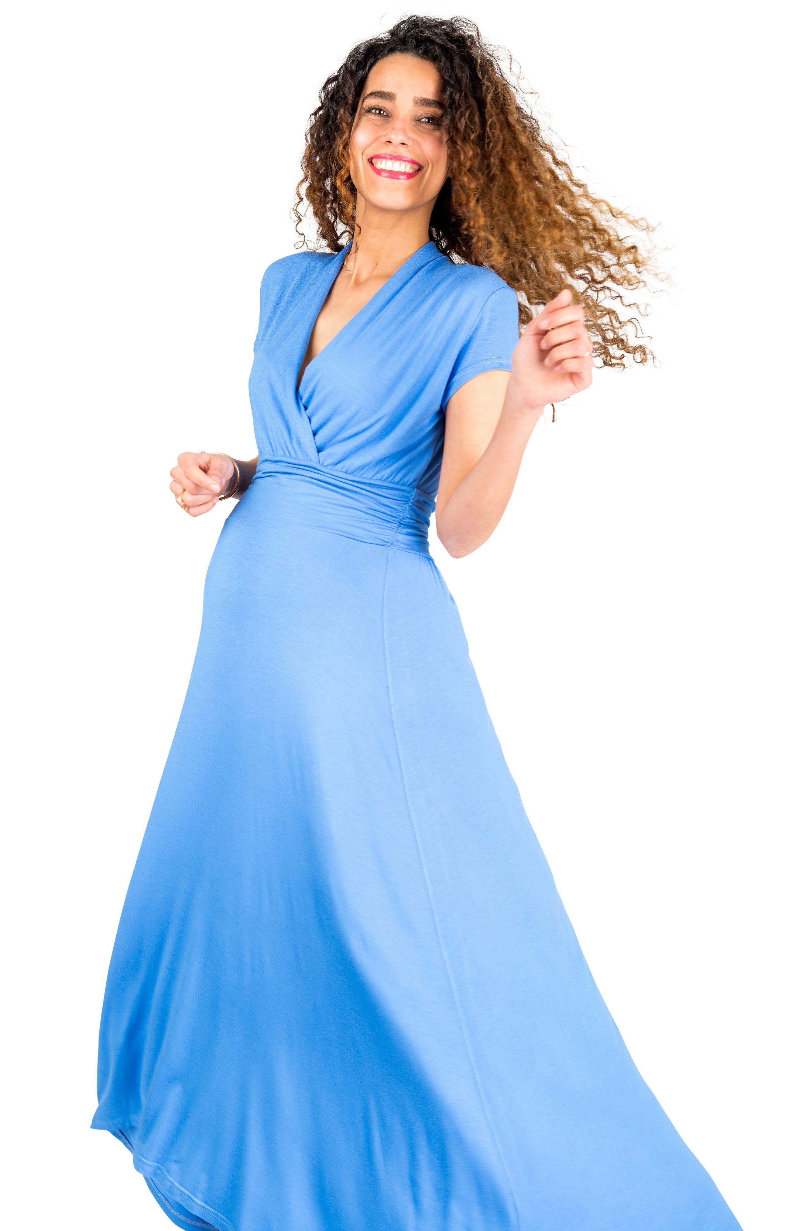 'Caroline' Maternity/Nursing Maxi Dress,                             Alternate thumbnail 4, color,                             BLUEBELL