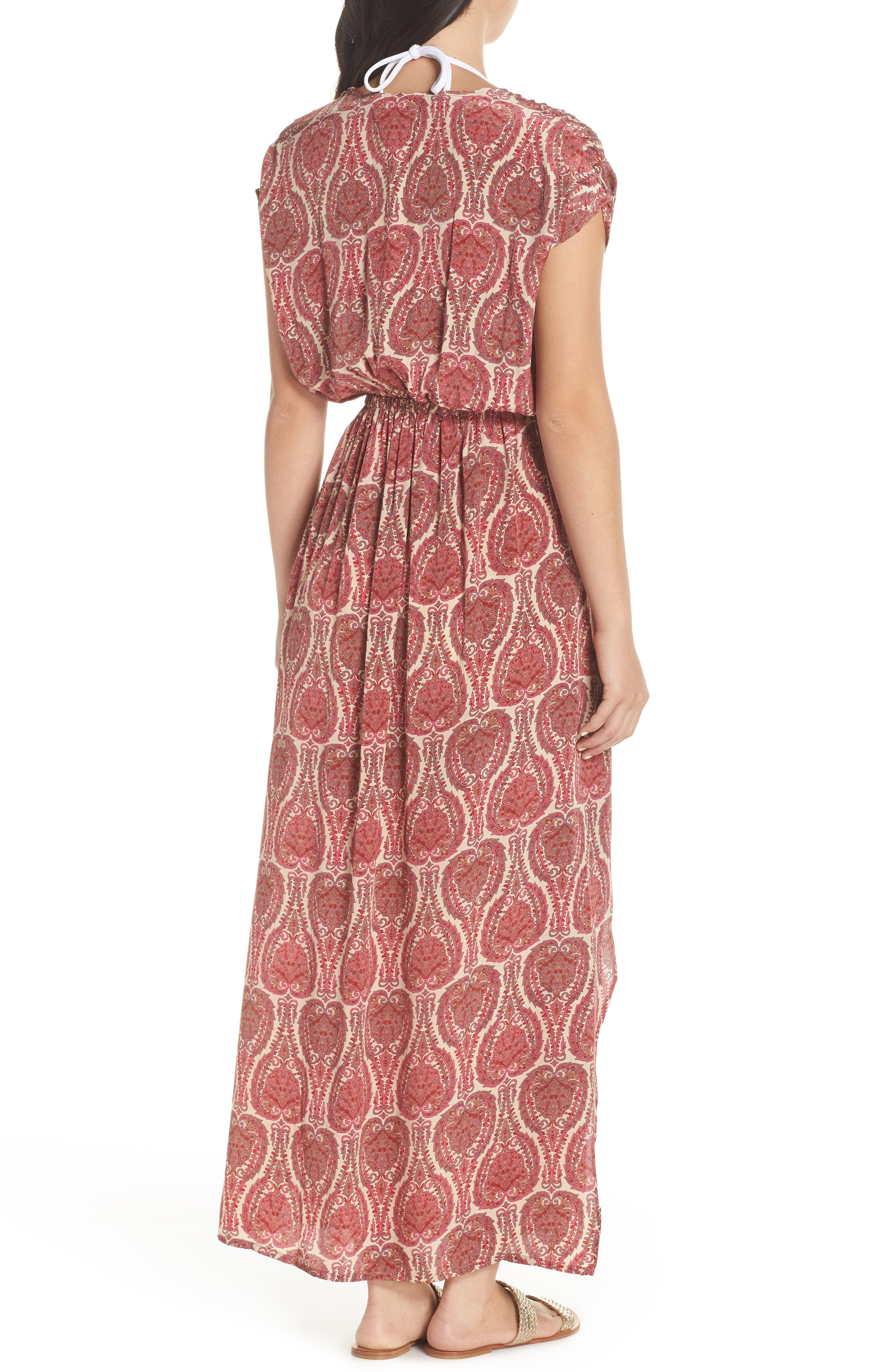 Wrap Maxi Cover-Up Dress,                             Alternate thumbnail 2, color,                             PAISLEY CORAL