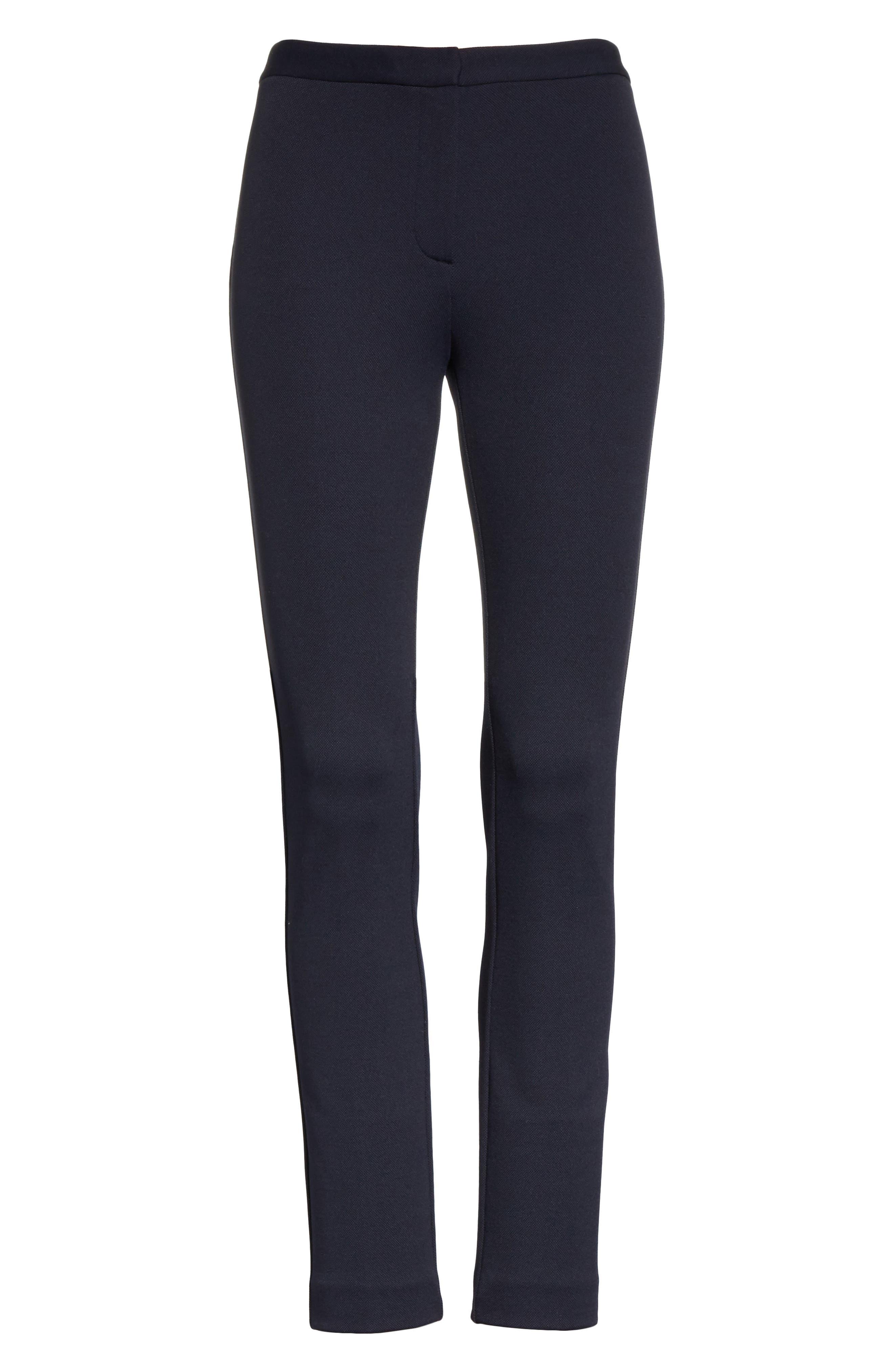 Piqué Skinny Pants,                             Alternate thumbnail 6, color,                             001