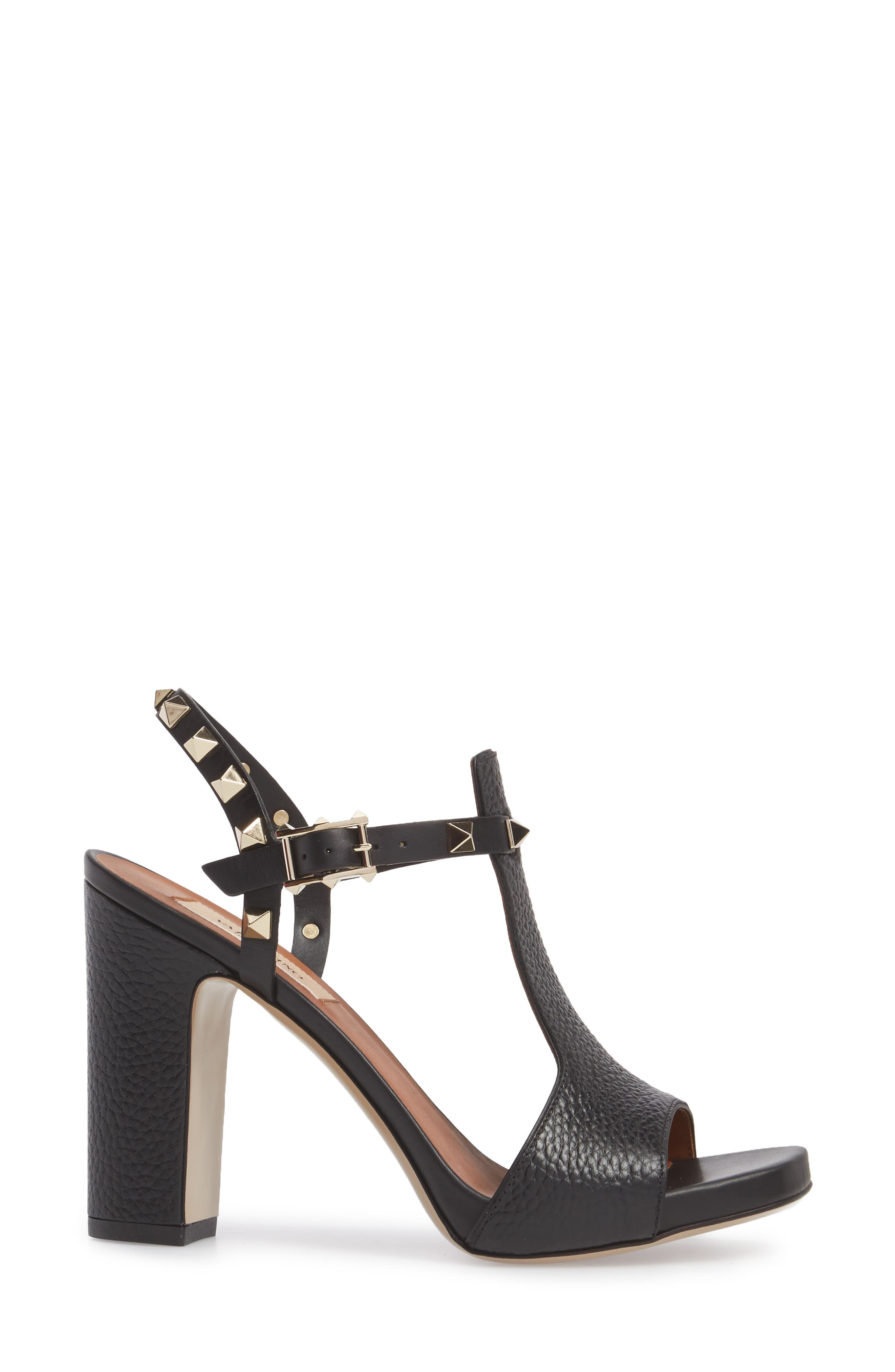 Rockstud T-Strap Sandal,                             Alternate thumbnail 3, color,                             BLACK LEATHER