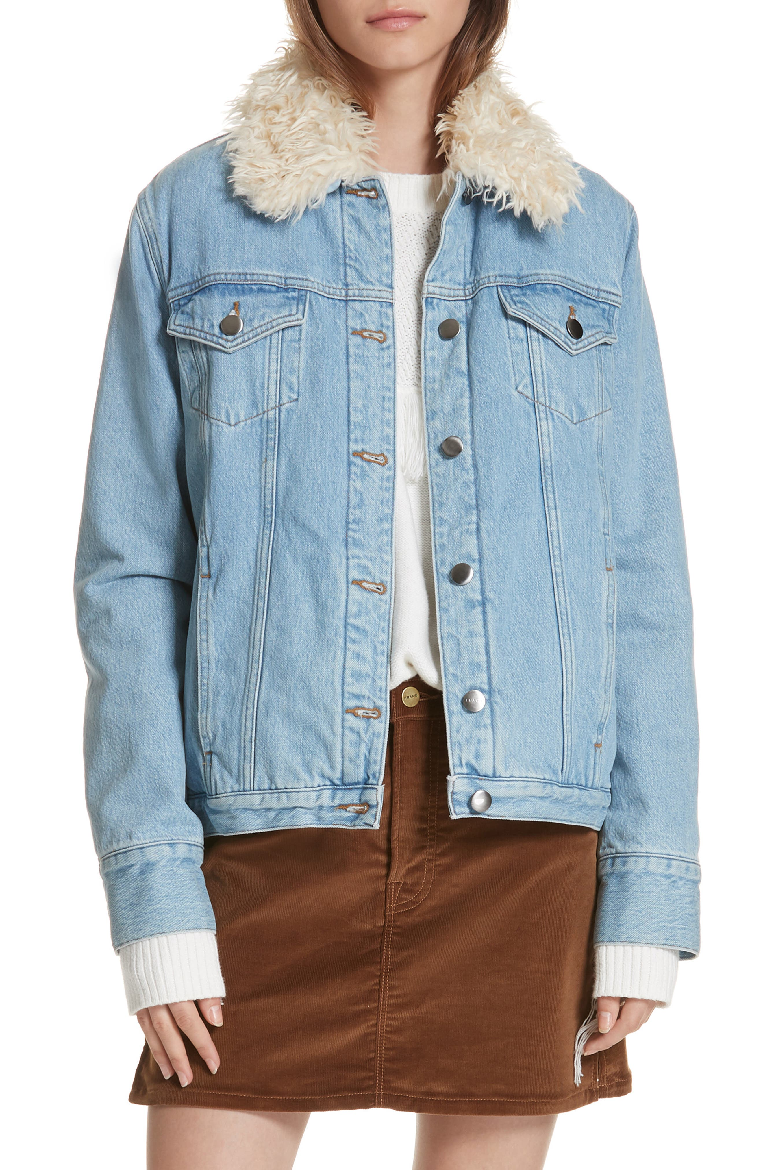 Le Curly Faux Shearling Collar Denim Jacket,                             Main thumbnail 1, color,                             MONROE