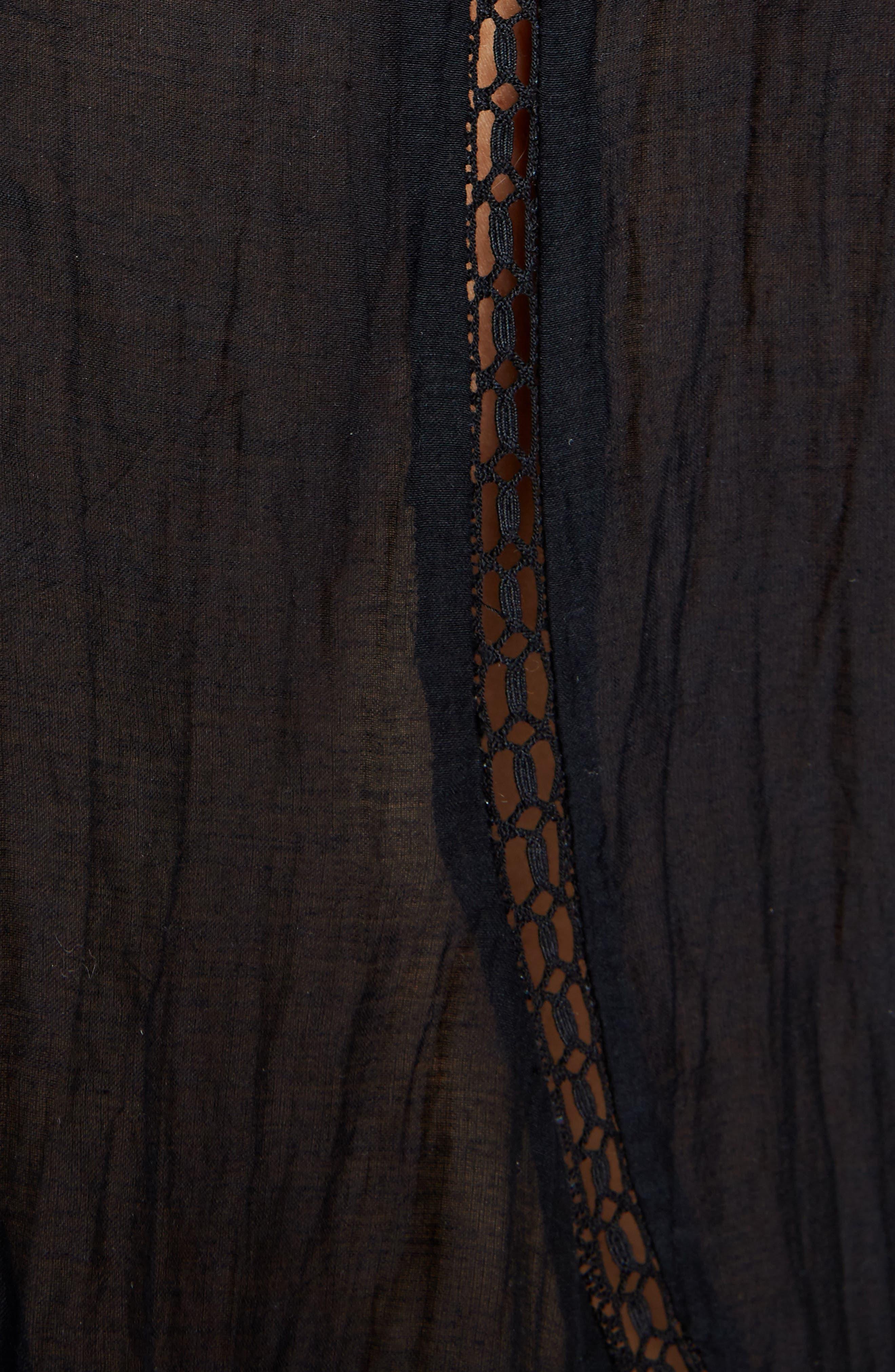 Vivia Lace Trim Top,                             Alternate thumbnail 5, color,                             001