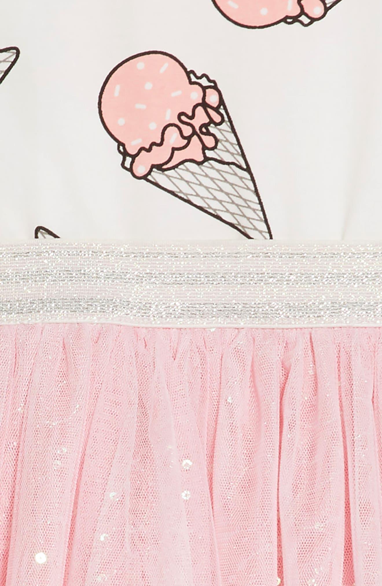 Ice Cream Print Dress,                             Alternate thumbnail 5, color,                             PINK MULTI