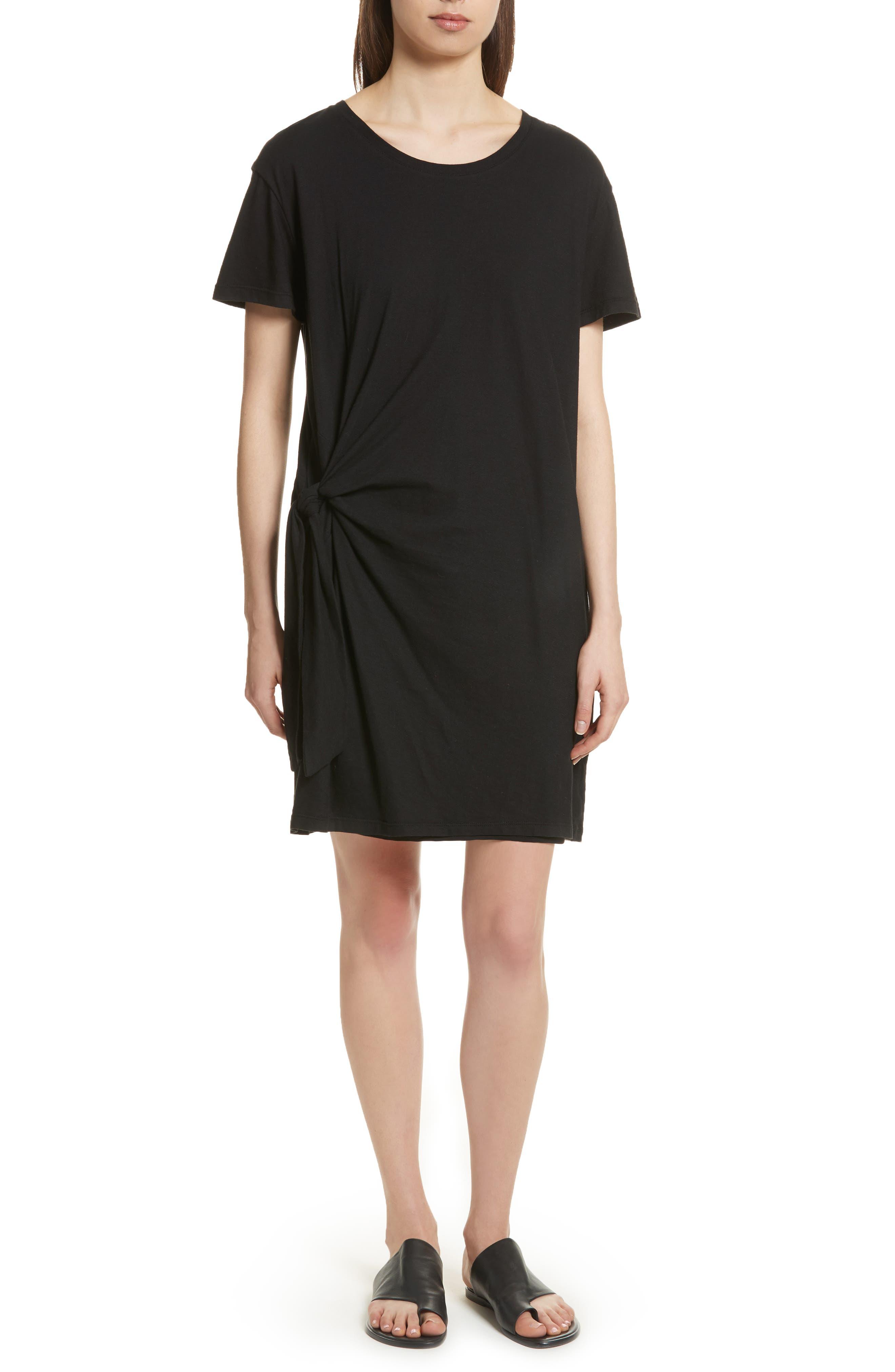 Side Tie Cotton Dress,                             Main thumbnail 1, color,                             001