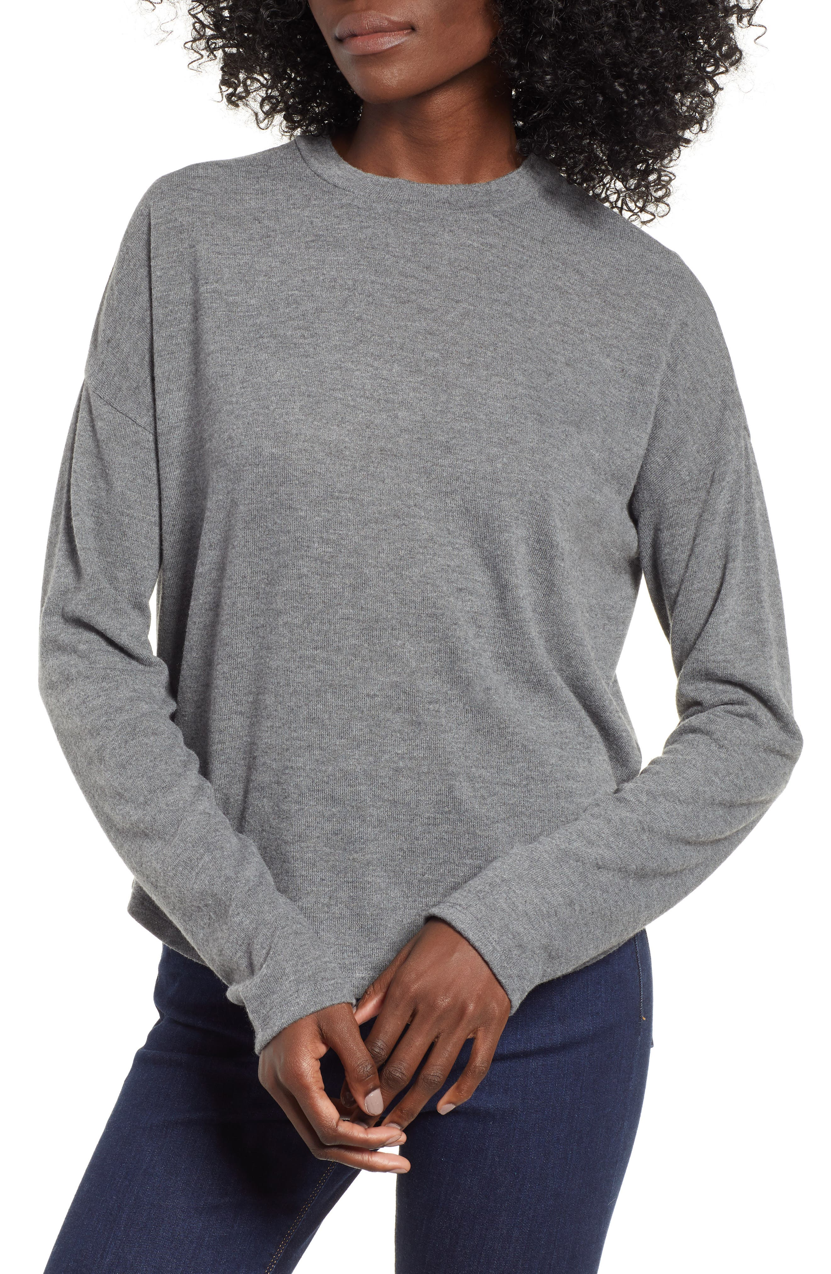 Drop Shoulder Tee,                             Main thumbnail 1, color,                             GREY CHARCOAL HEATHER