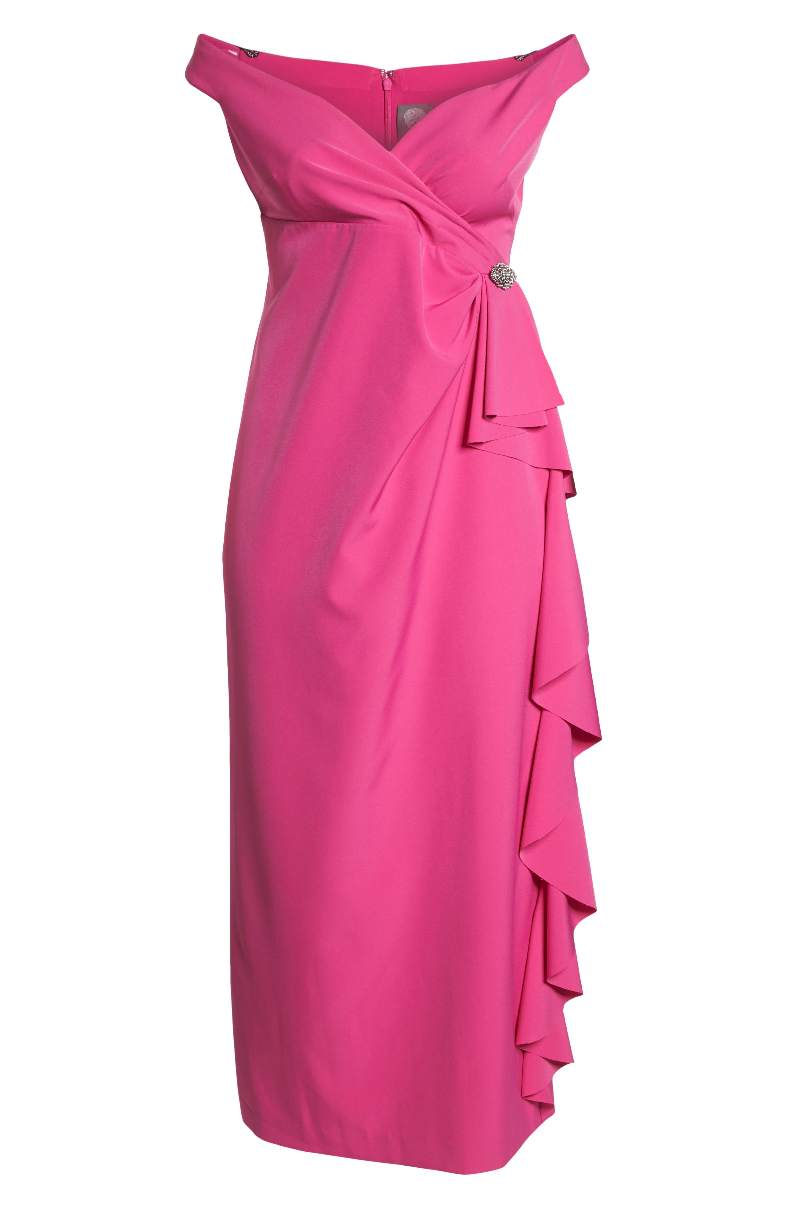 Off the Shoulder Embellished Ruffle Gown,                             Alternate thumbnail 6, color,                             650