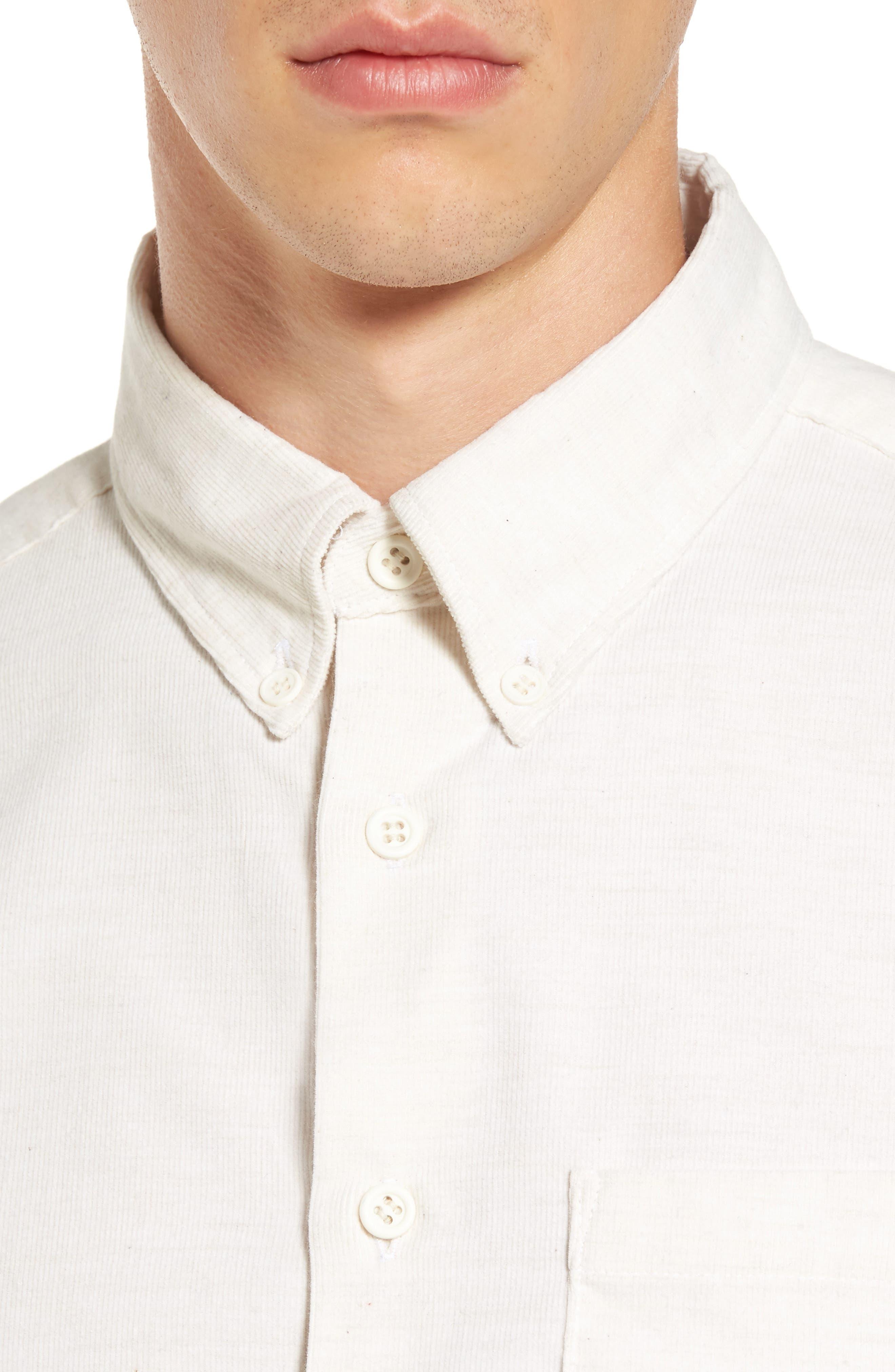 Corduroy Button Down Shirt,                             Alternate thumbnail 4, color,                             100