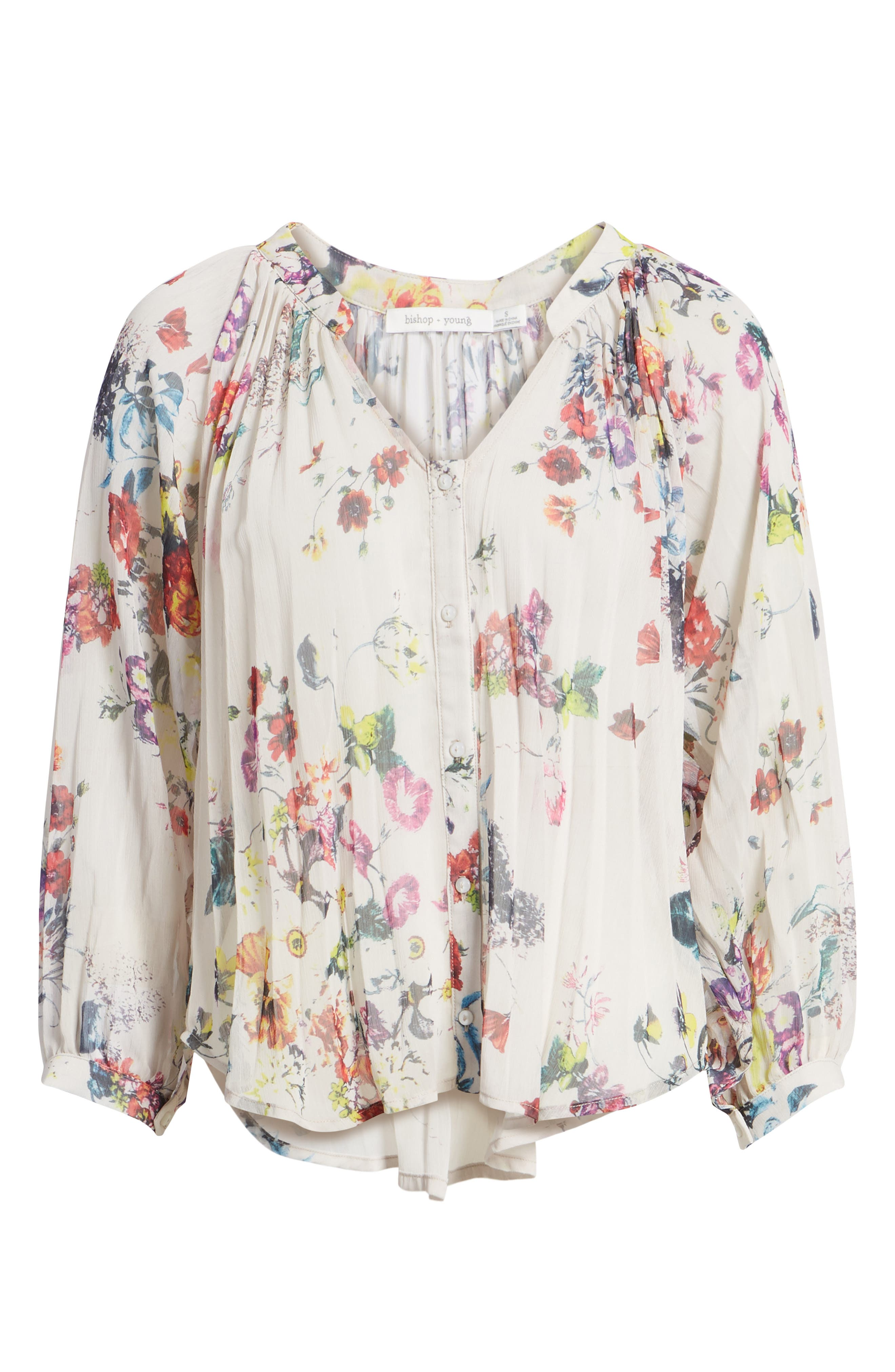 Bishop + Young Floral Pleated Top,                             Alternate thumbnail 7, color,