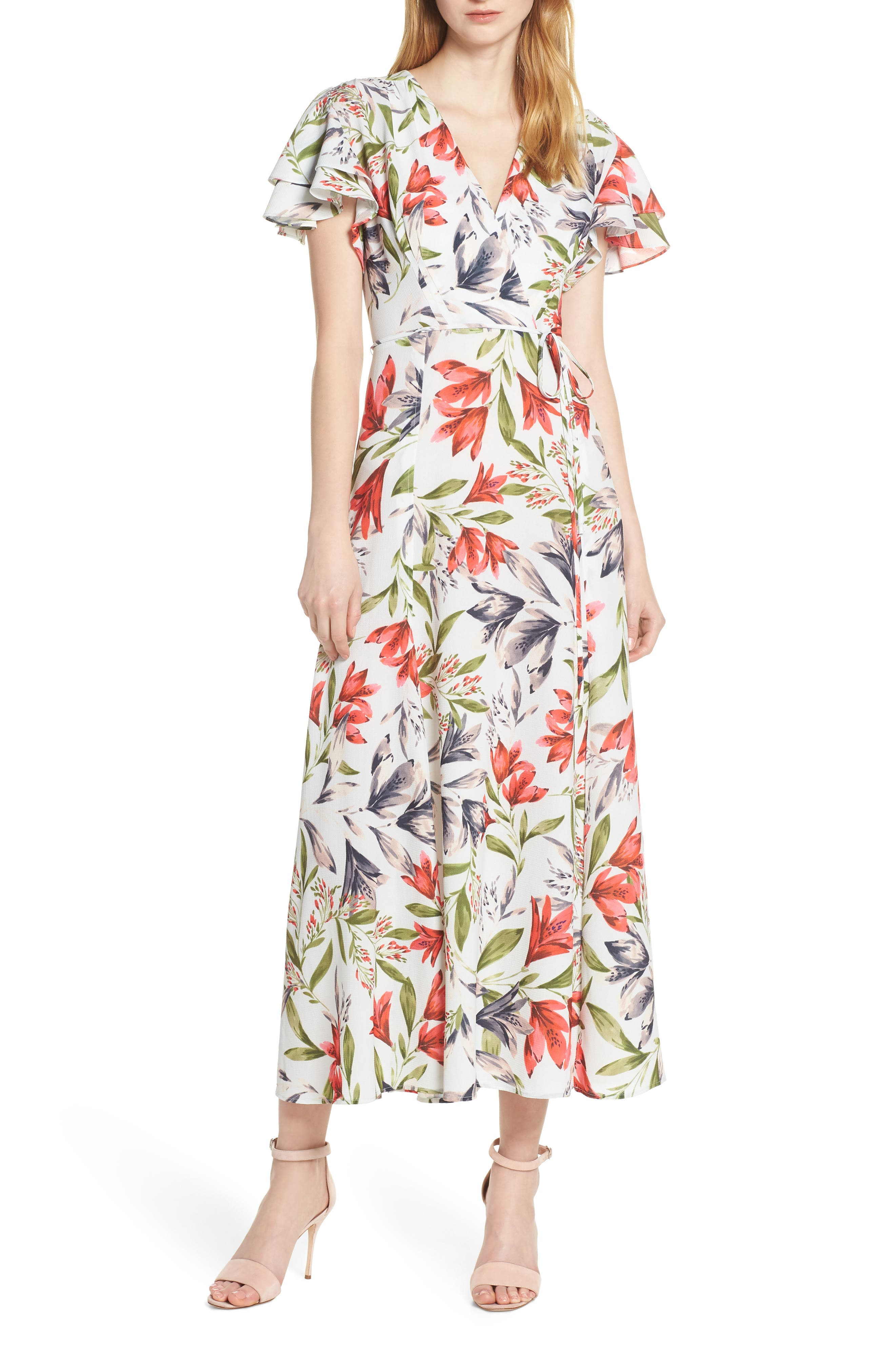 French Connection Cadencia Cari Floral Maxi Dress, Black
