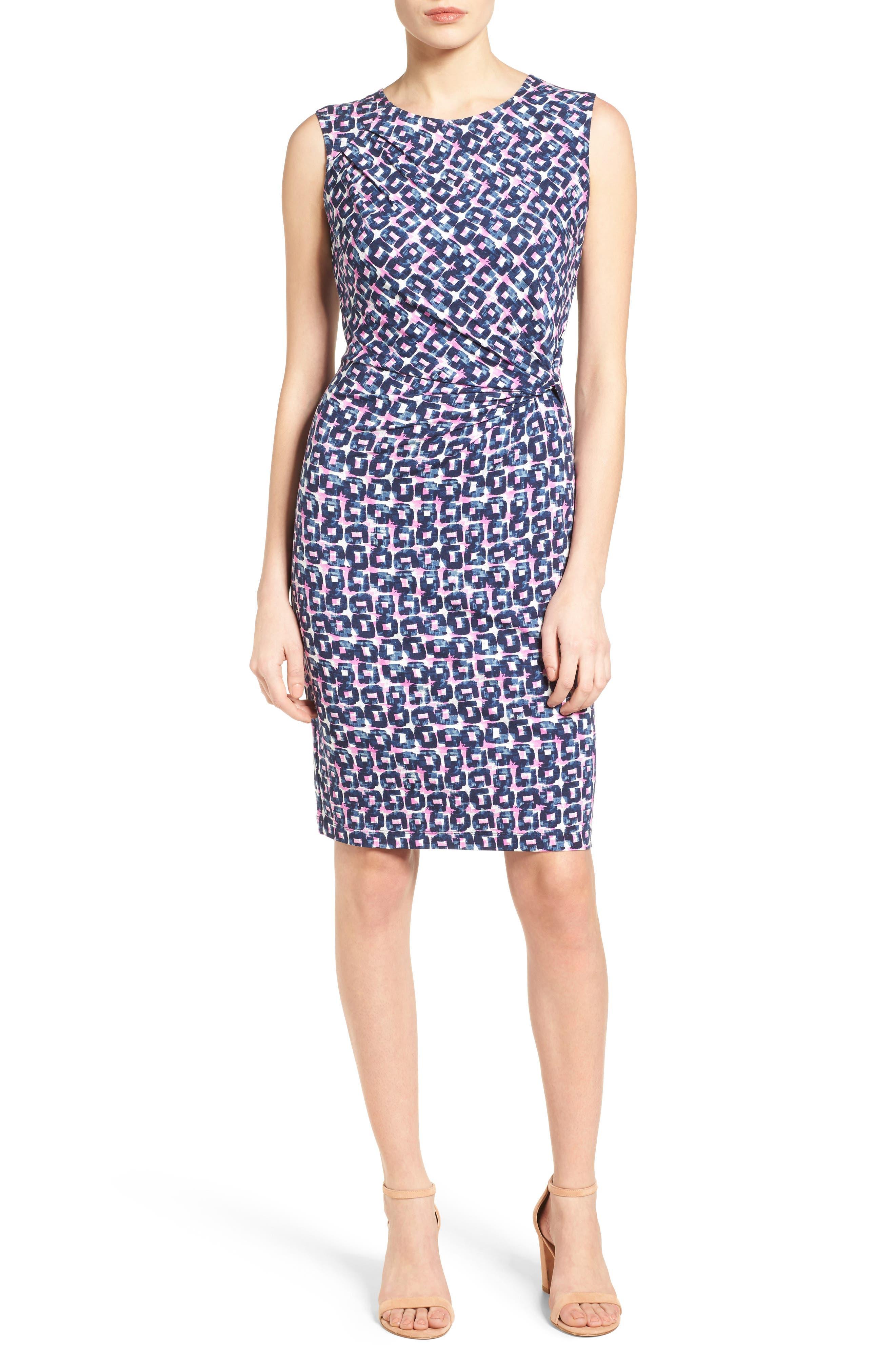 Groundwork Twist Print Sheath Dress,                         Main,                         color, 490