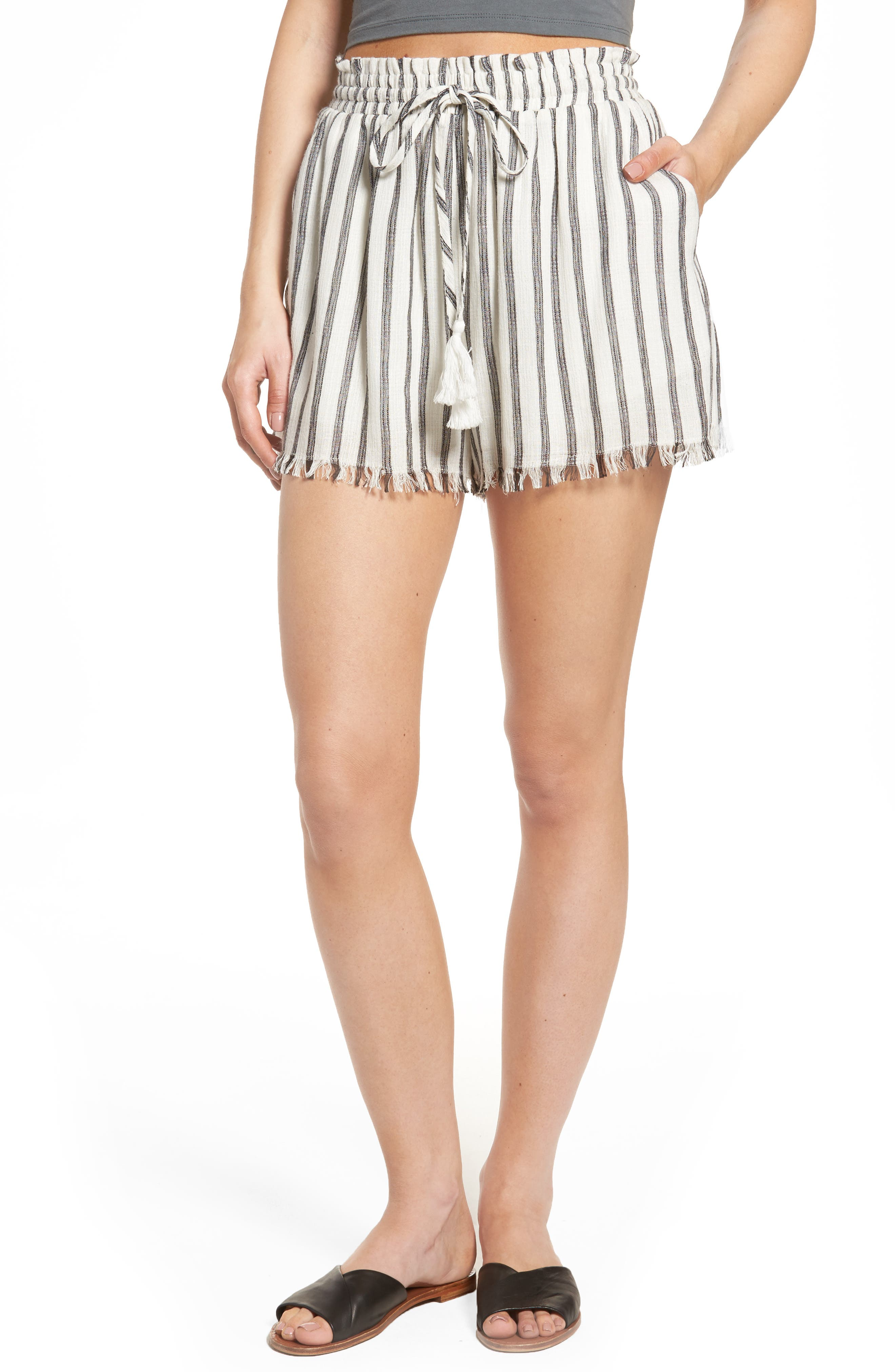 ASTR THE LABEL Lupe Drawstring Shorts, Main, color, 100