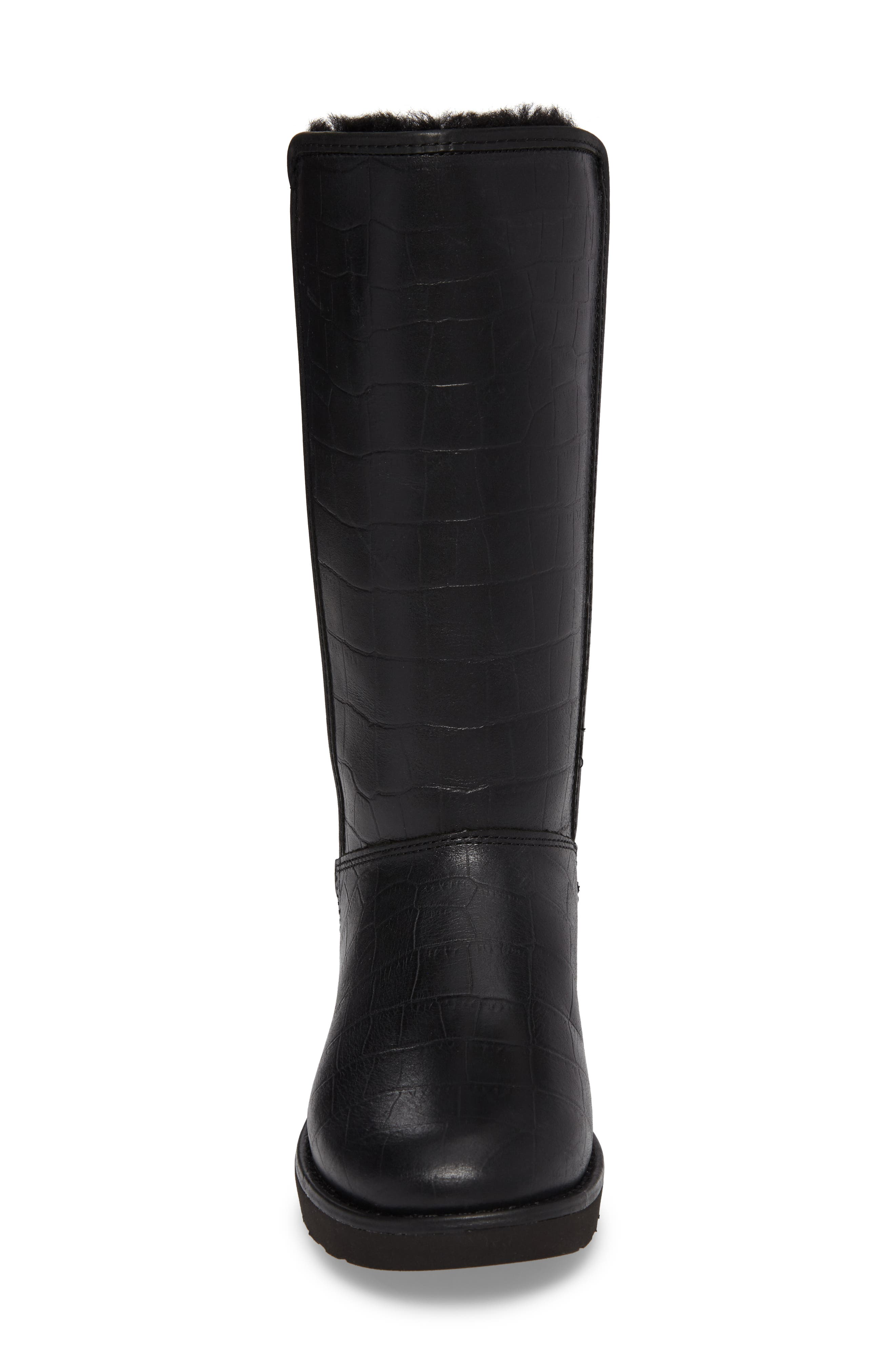 Abree II Croc Embossed Boot,                             Alternate thumbnail 4, color,                             001