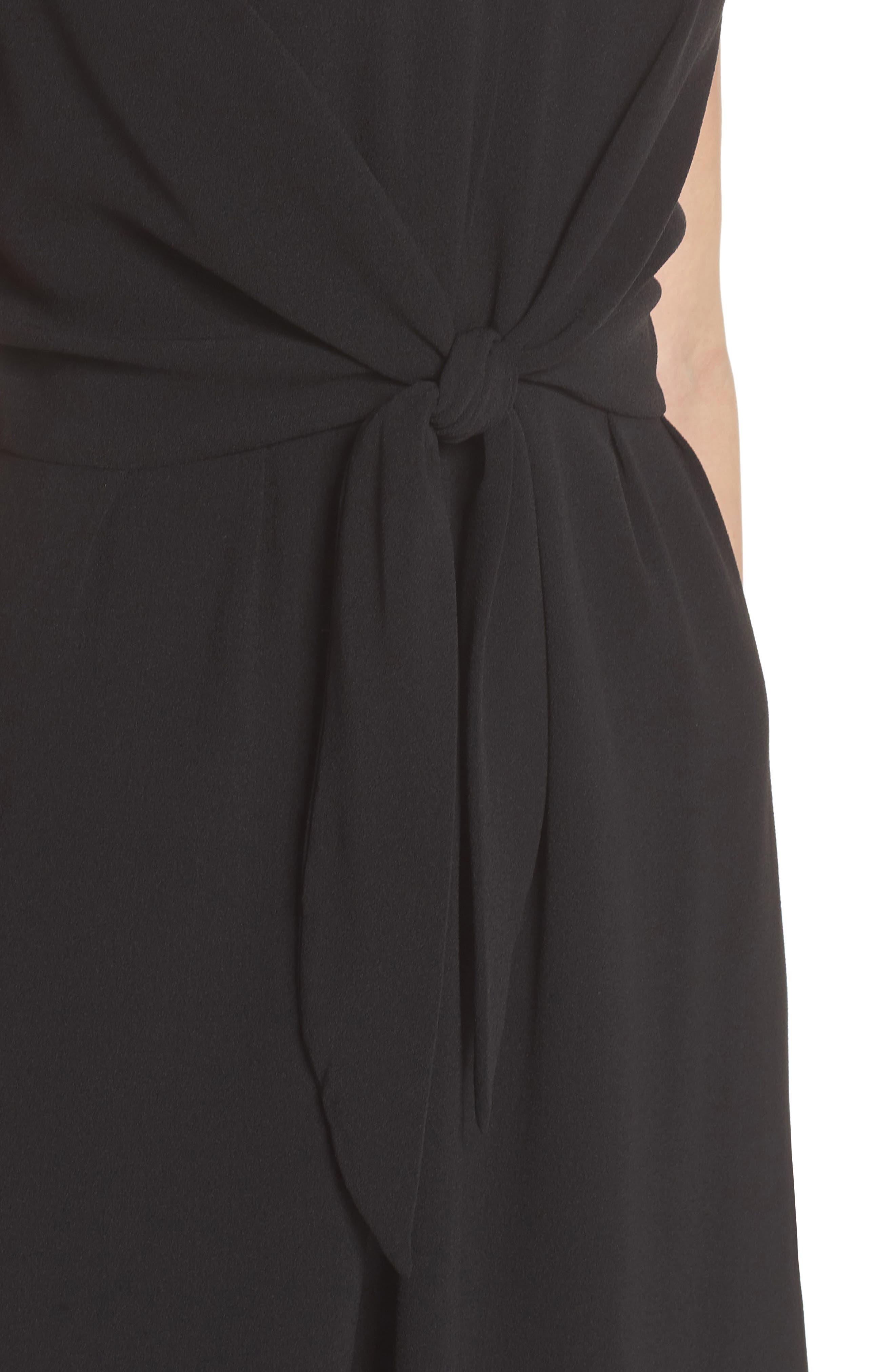 Tie Front Sheath Dress,                             Alternate thumbnail 4, color,                             001