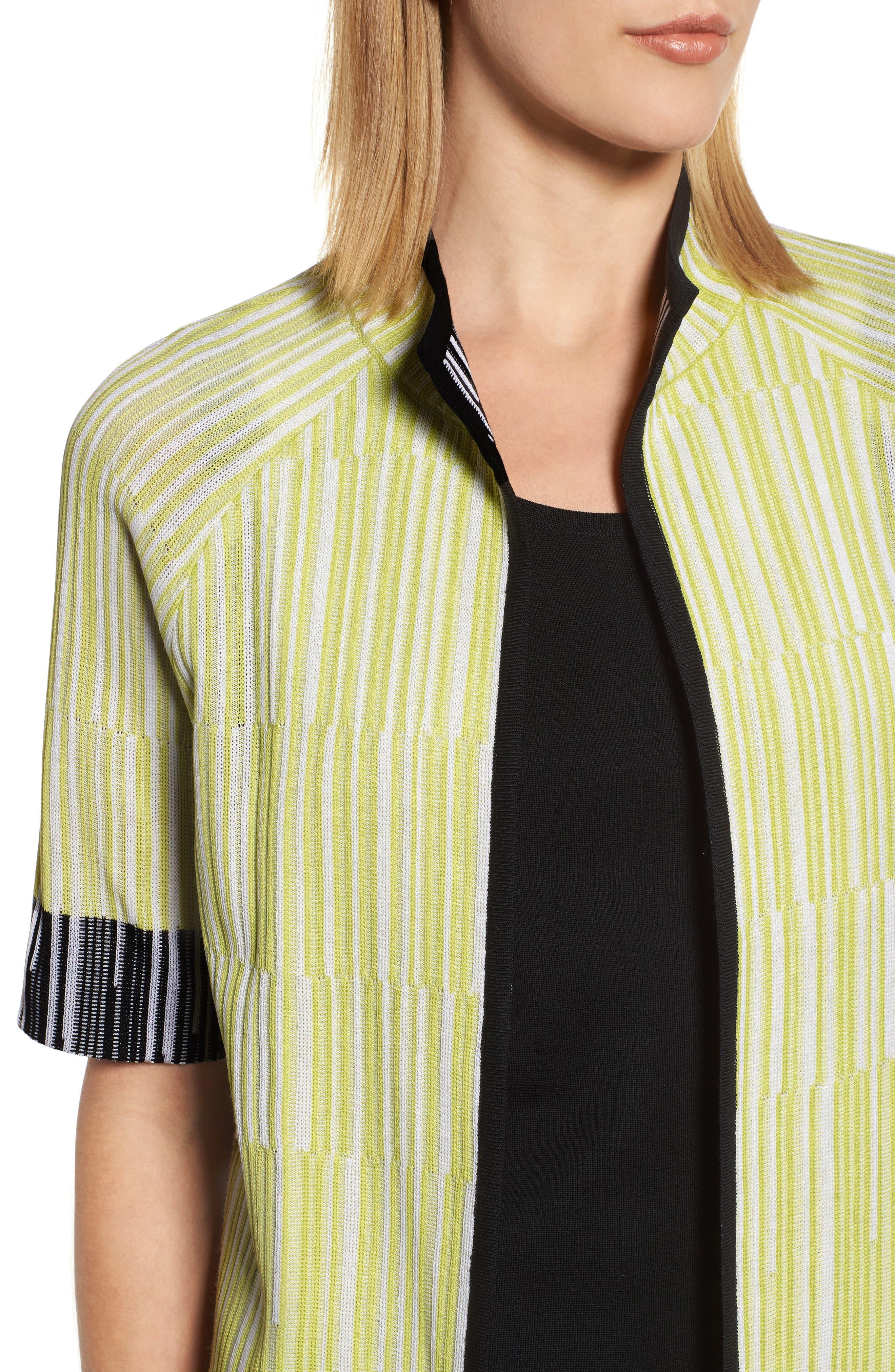 Short Sleeve Jacquard Jacket,                             Alternate thumbnail 4, color,                             AURORA/ BLACK/ WHITE