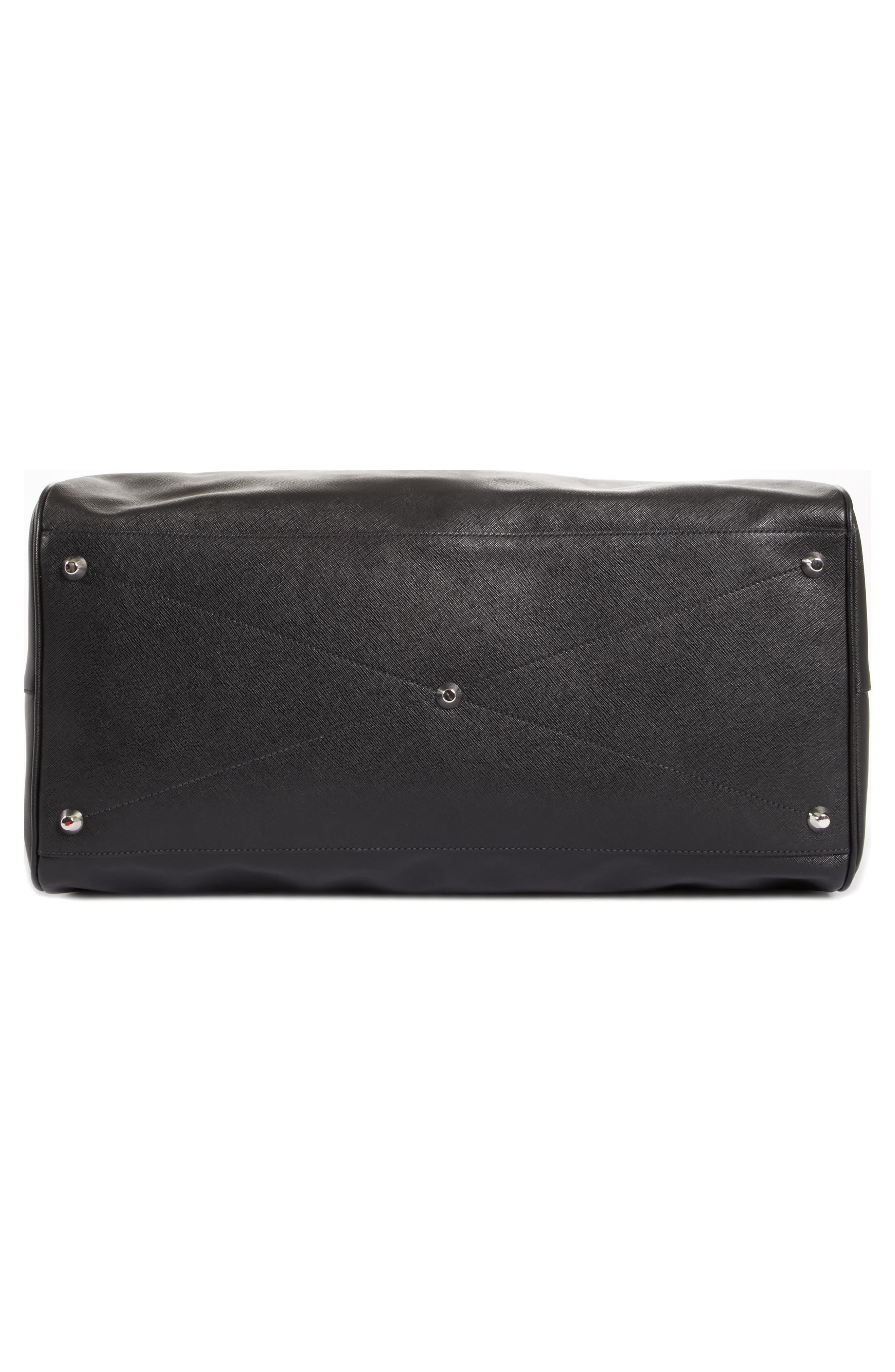 Saffiano Leather Duffel Bag,                             Alternate thumbnail 6, color,                             001