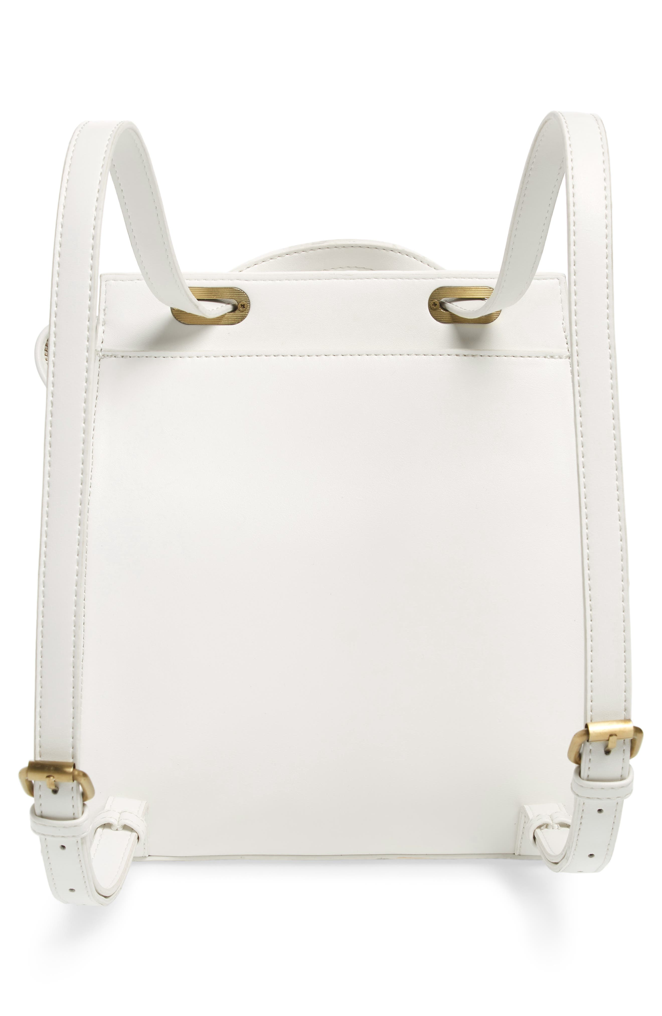 Faux Leather Convertible Backpack,                             Alternate thumbnail 4, color,                             OPTIC WHITE