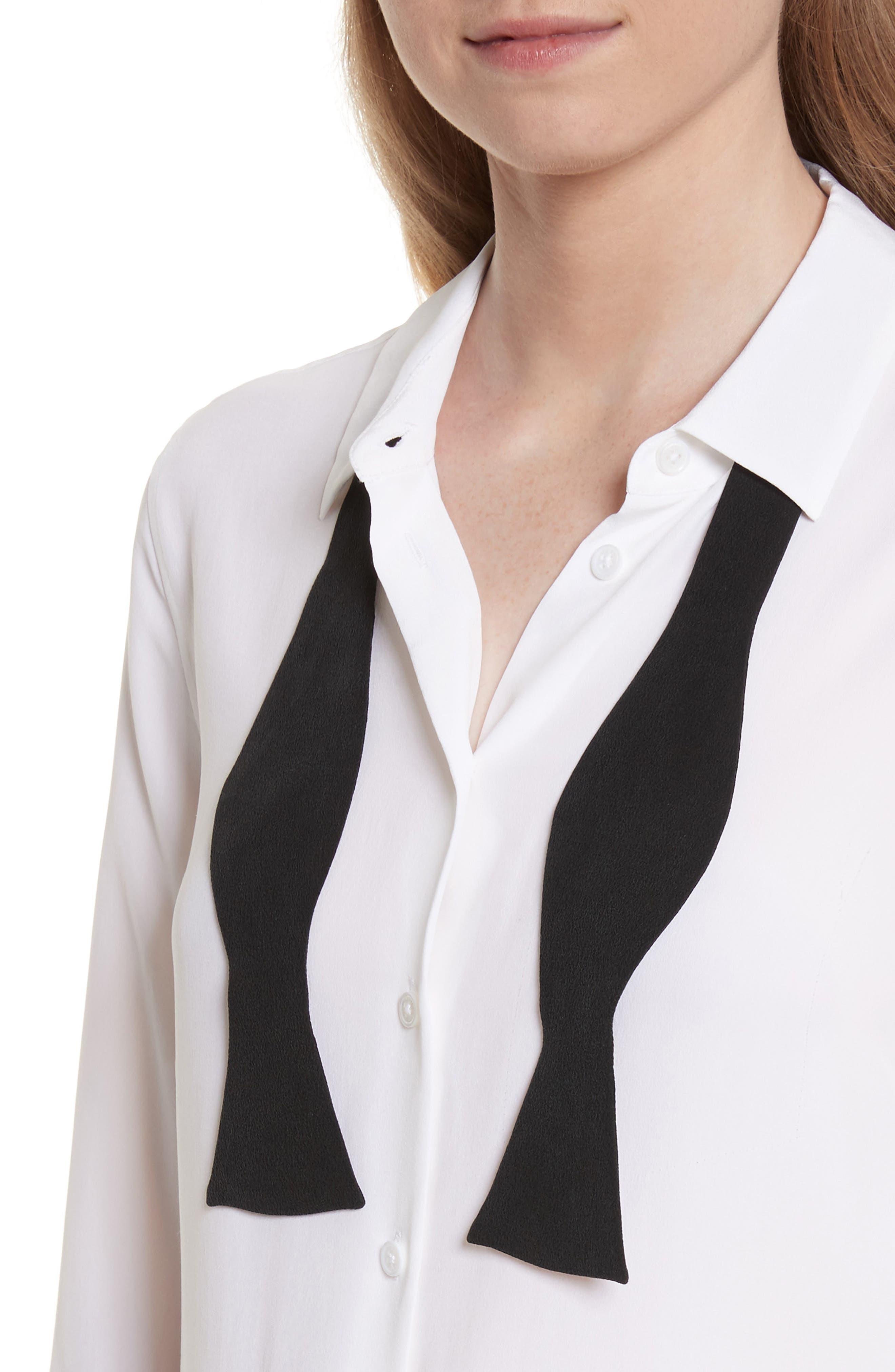 Essential Bow Tie Silk Shirt,                             Alternate thumbnail 4, color,                             111