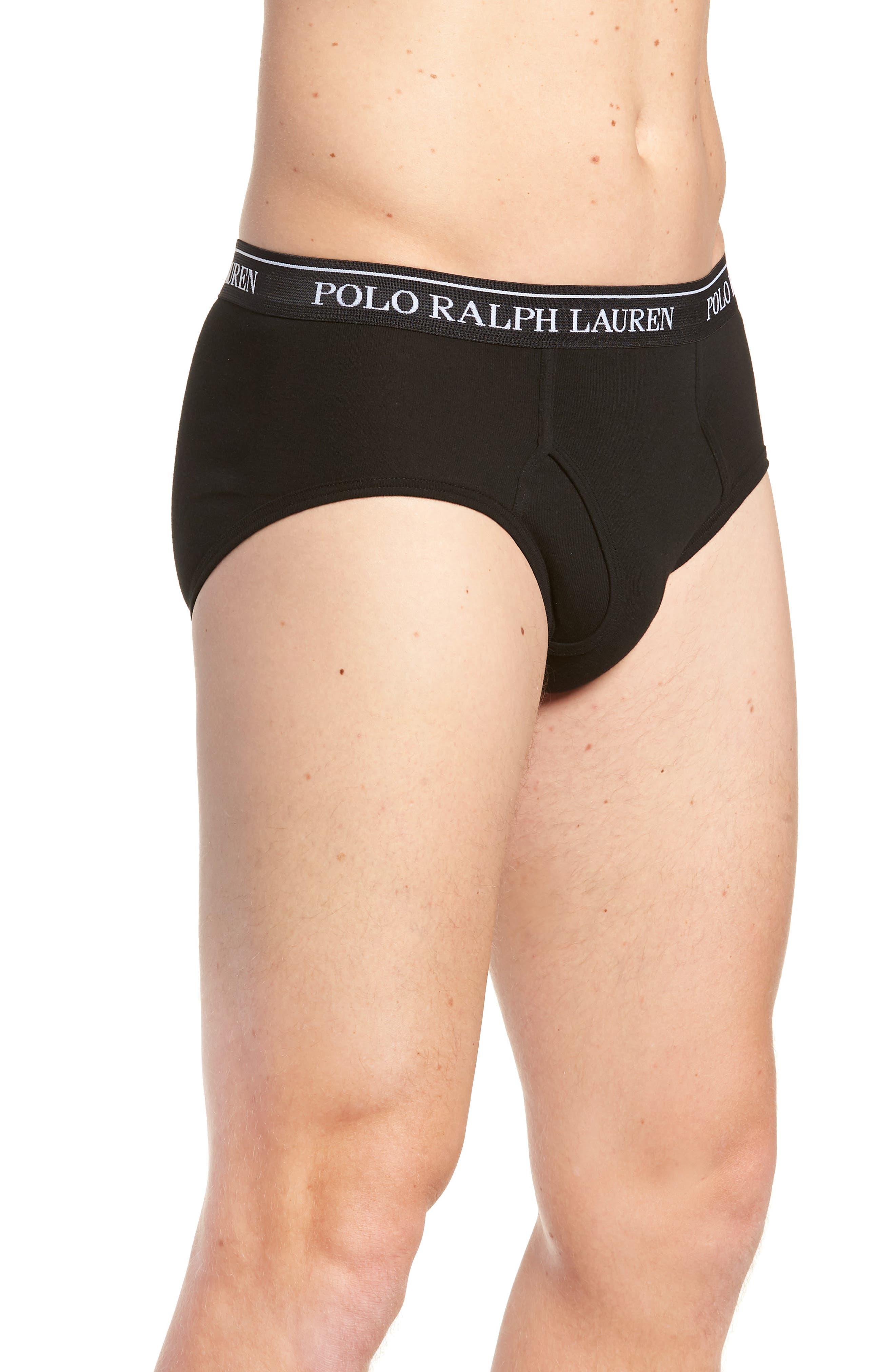 Polo Ralph Lauren 4-Pack Low Rise Cotton Briefs,                             Alternate thumbnail 4, color,                             POLO BLACK