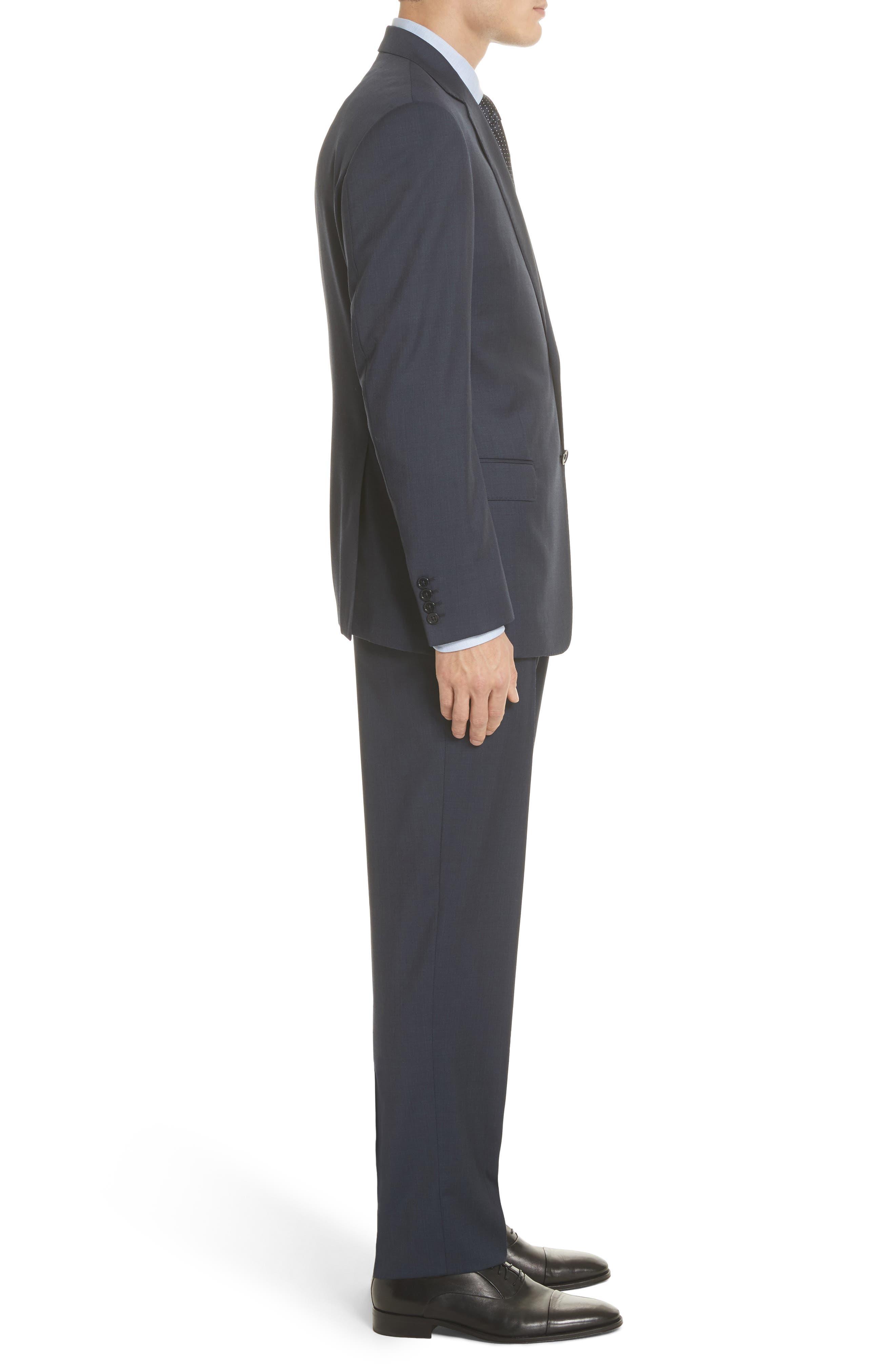 Trim Fit Sharkskin Wool Suit,                             Alternate thumbnail 6, color,