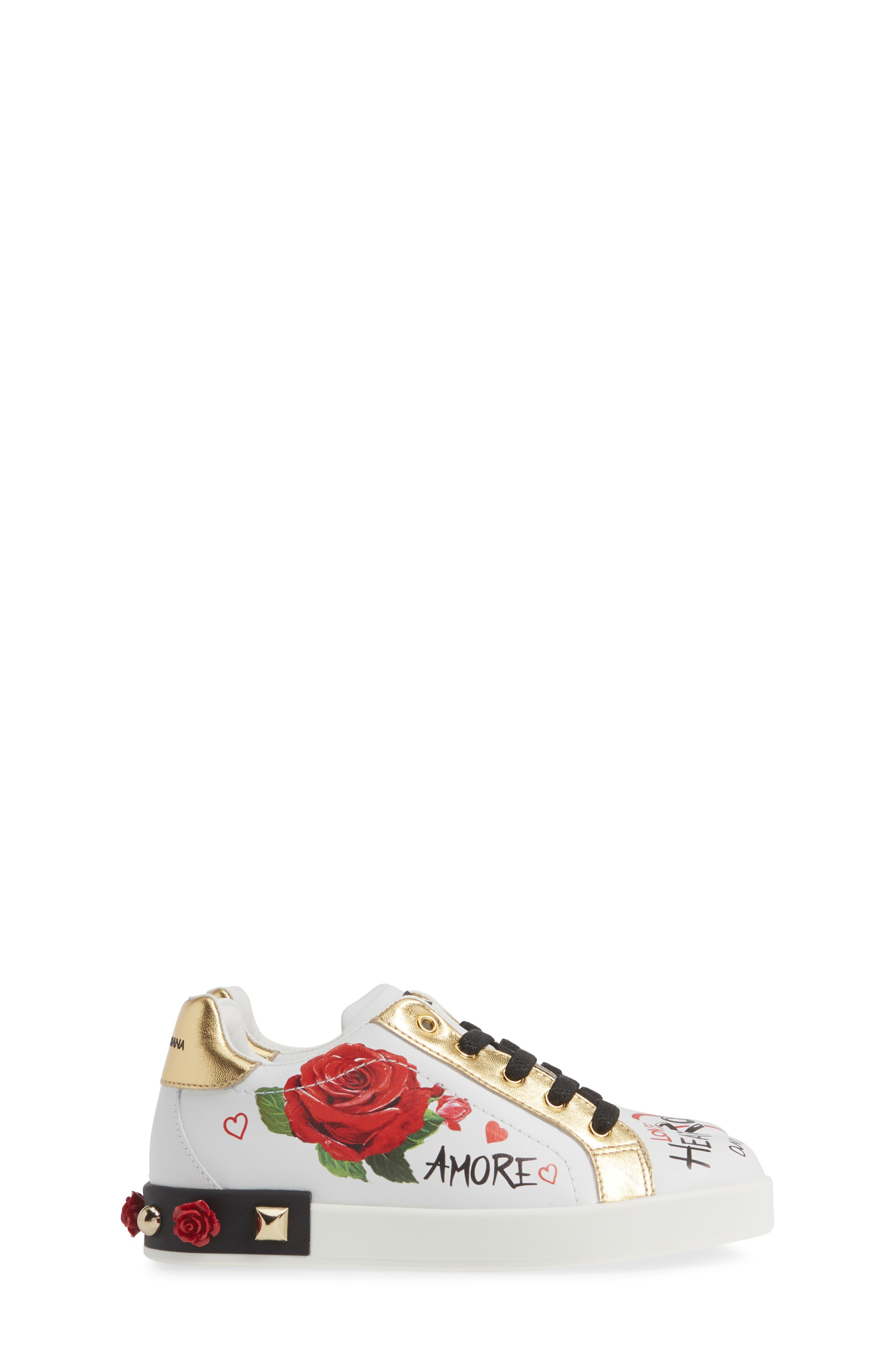 Amore Low Top Sneaker,                             Alternate thumbnail 3, color,                             WHITE