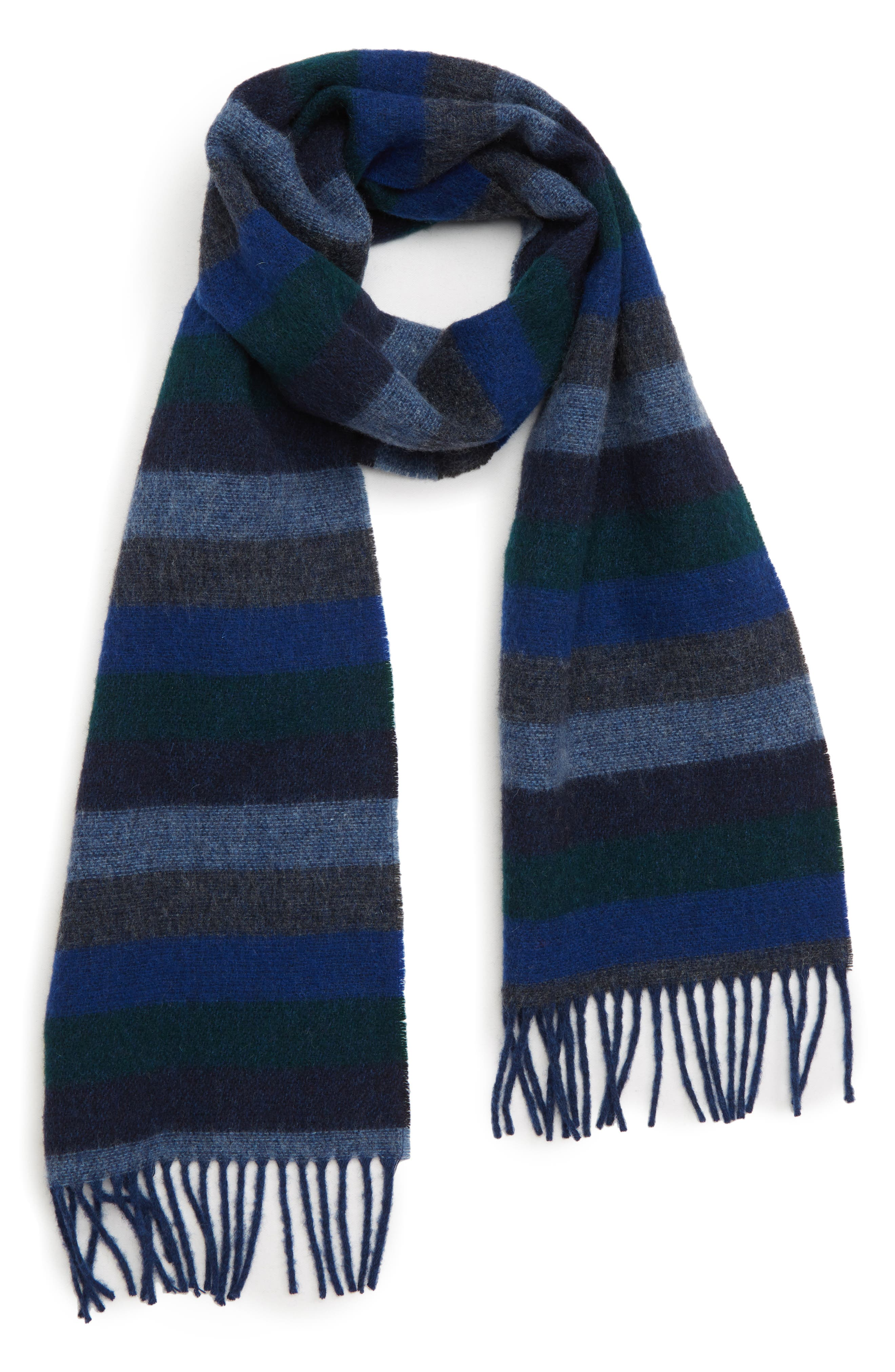 Seaton Stripe Wool Scarf,                         Main,                         color, NAVY/ DARK GREEN STRIPE