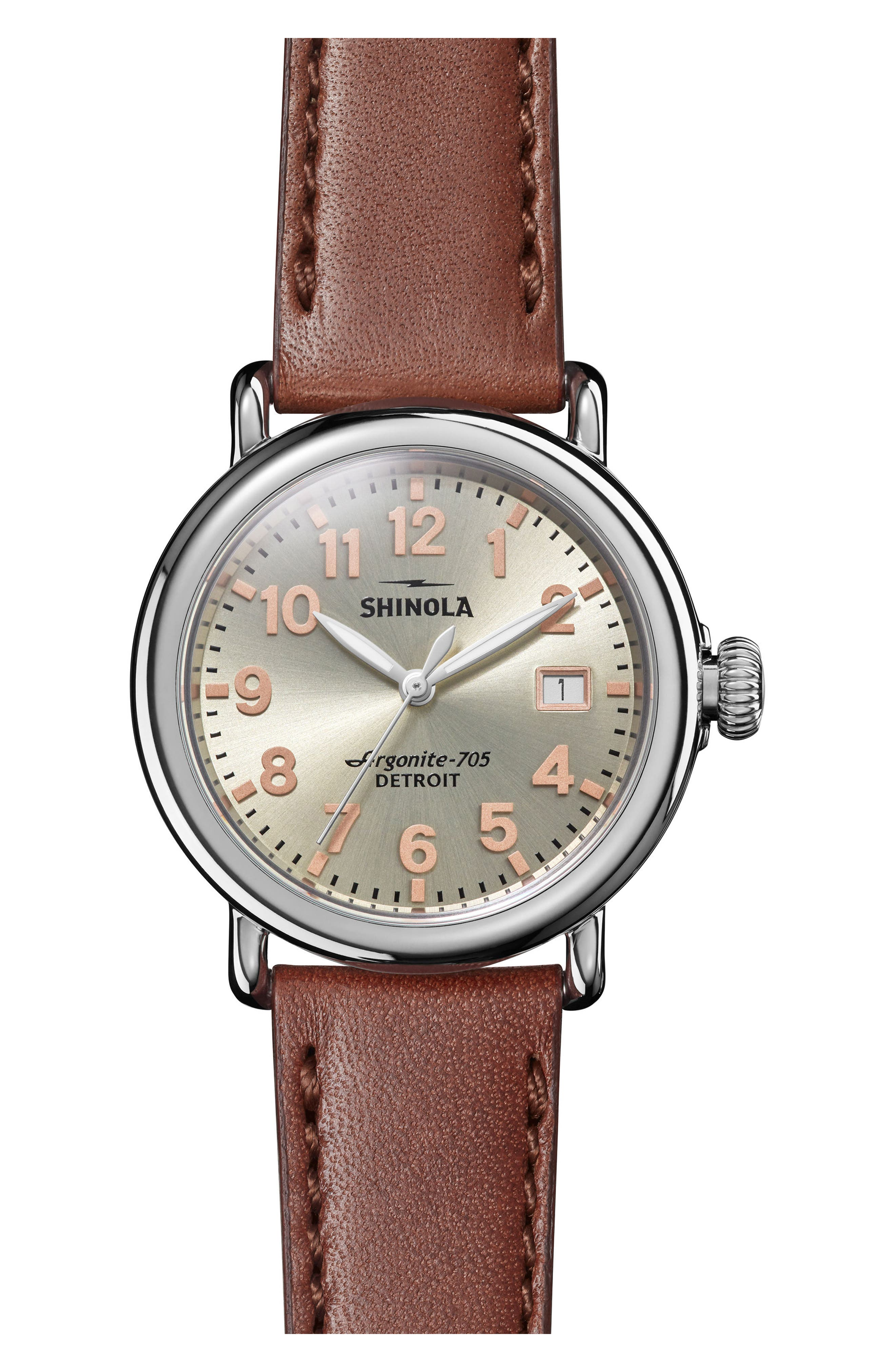 The Runwell Leather Strap Watch, 36mm,                             Main thumbnail 1, color,                             DARK COGNAC/ CHAMPAGNE/ SILVER