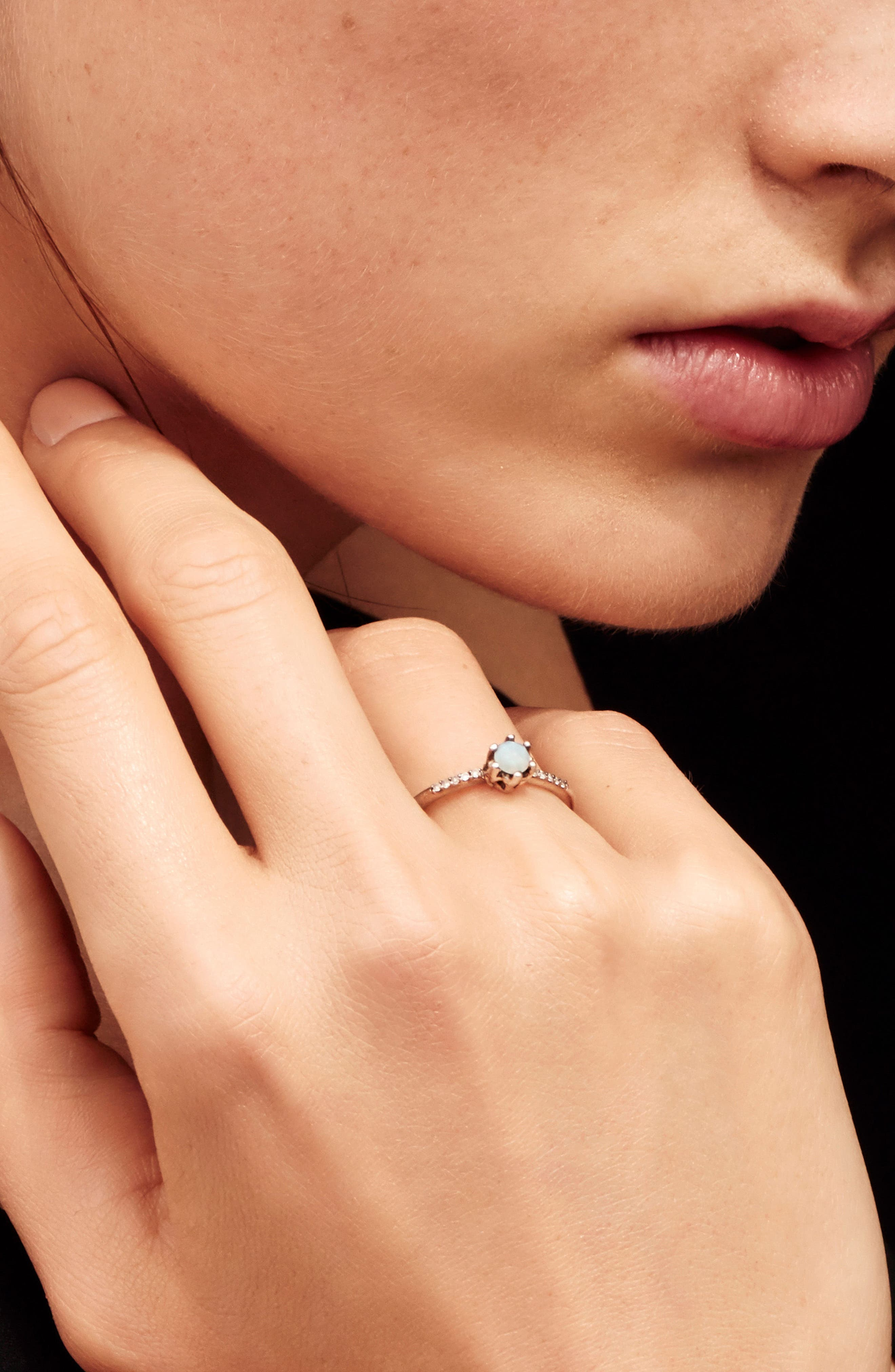 Entity Opal & Diamond Solitaire Ring,                             Alternate thumbnail 3, color,                             YELLOW GOLD/ OPAL