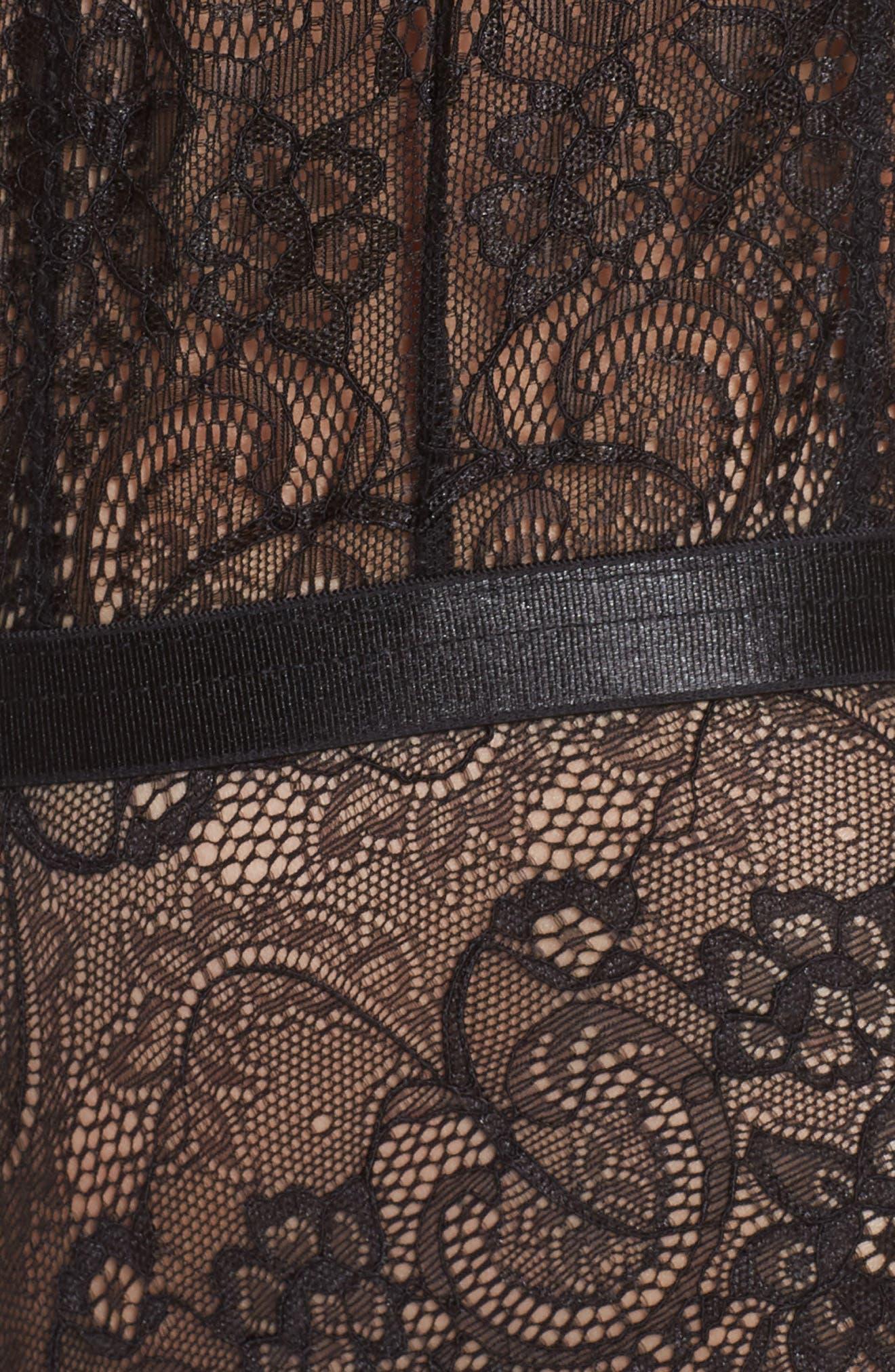 Plunge Neck Lace Bodysuit,                             Alternate thumbnail 5, color,                             BLACK